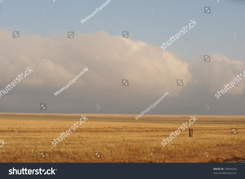 Flat Steppe Land In Kazakhstan Stock Photo 70964254 : Shutterstock