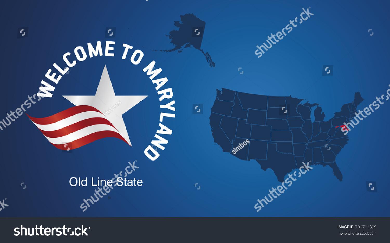 Welcome Maryland Usa Map Banner Logo Stock Vector - Map of maryland usa