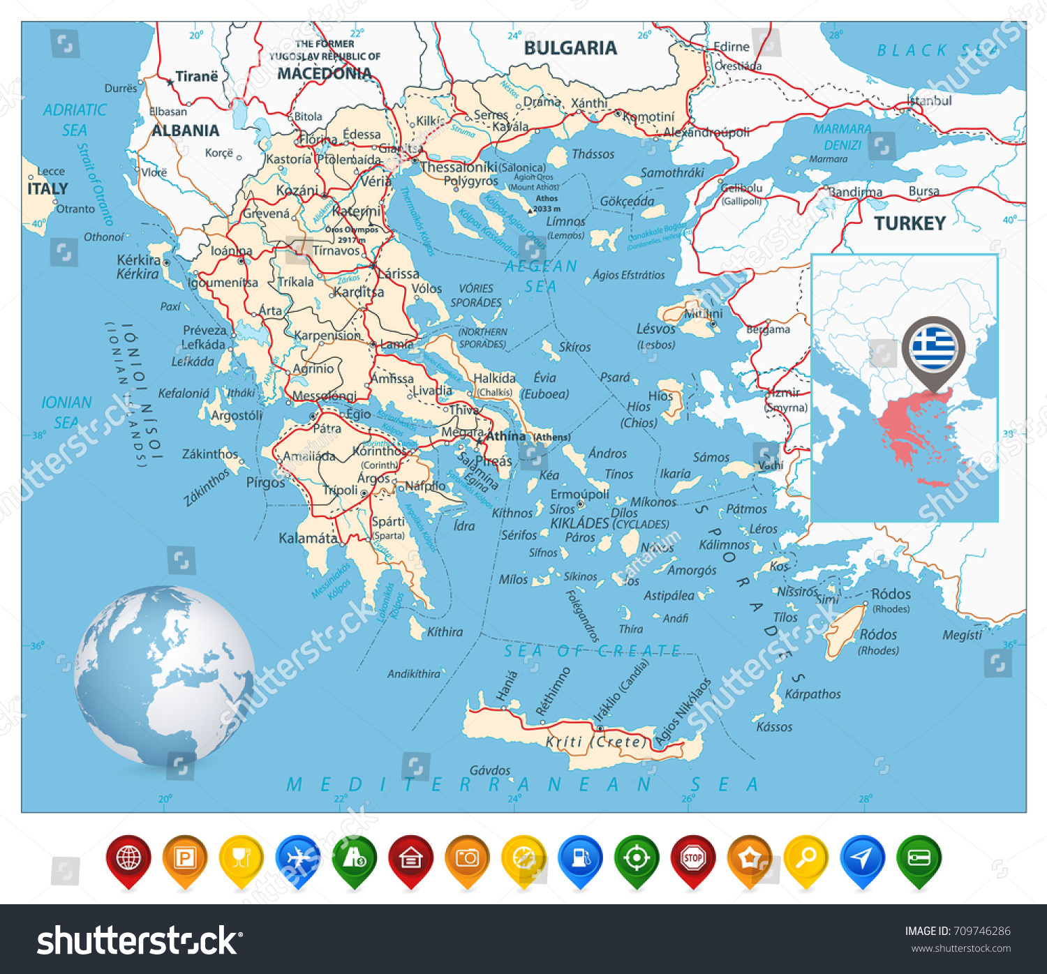 Greece Map Colorful Map Markers Detailed Stock Vector Royalty Free