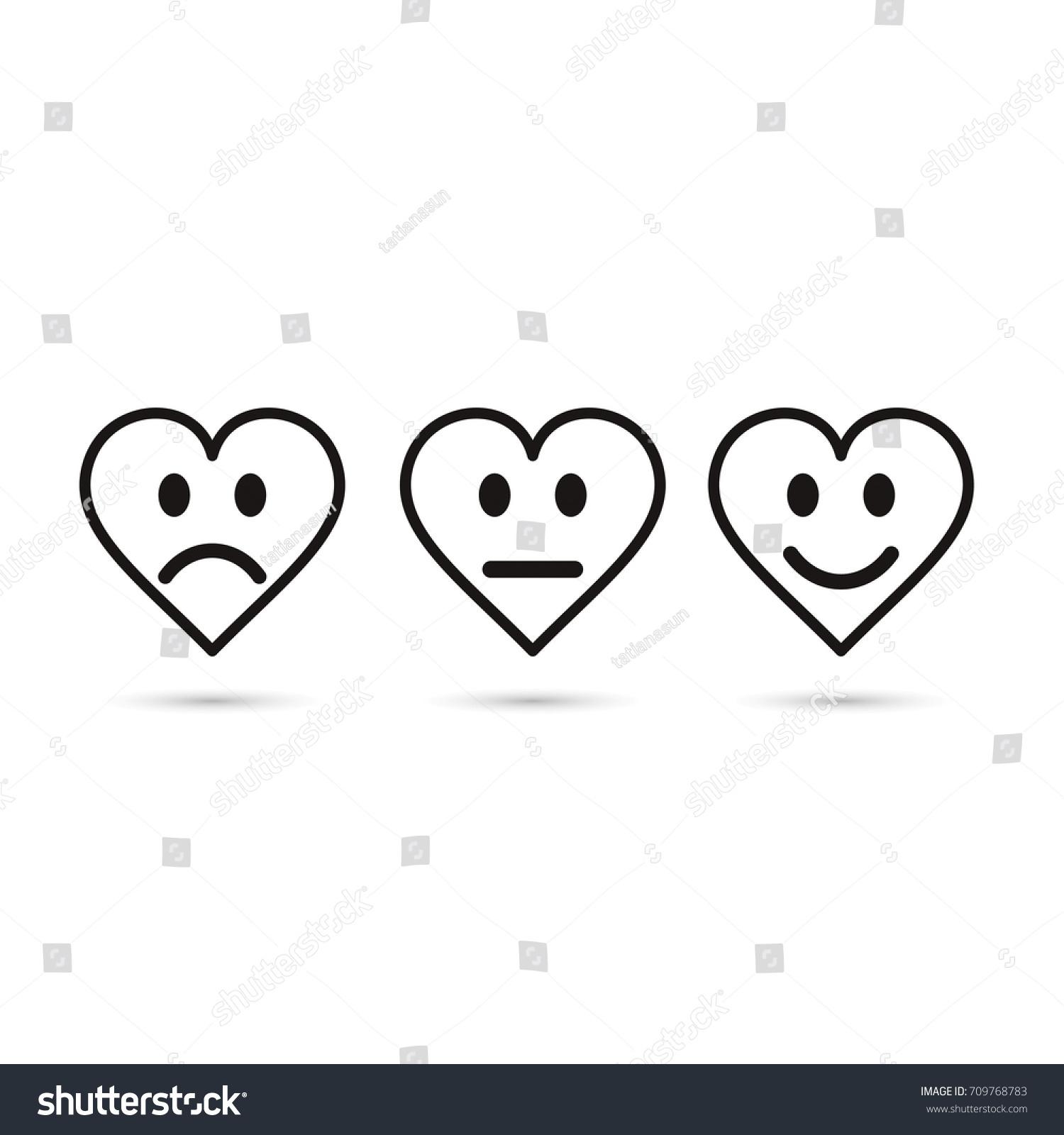 Heart Emoticon Evaluation Line Icon Feedback Stock Vector 2018