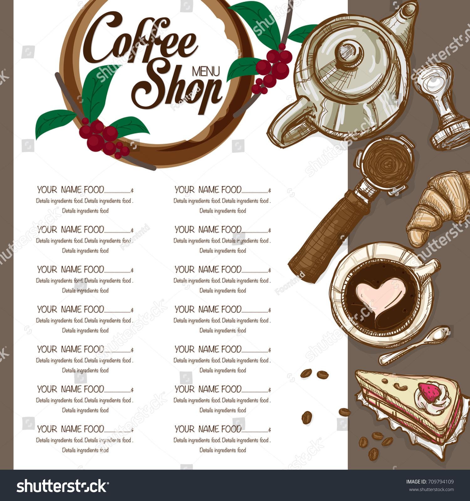 Menu Coffee Shop Restaurant Template Design Stock Vector Royalty