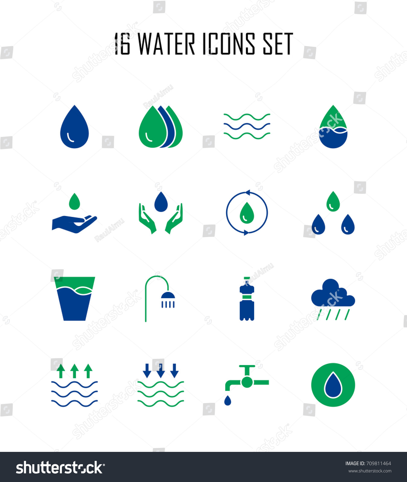 Water Icon Set Collection Water Drop Stock Vector Royalty Free