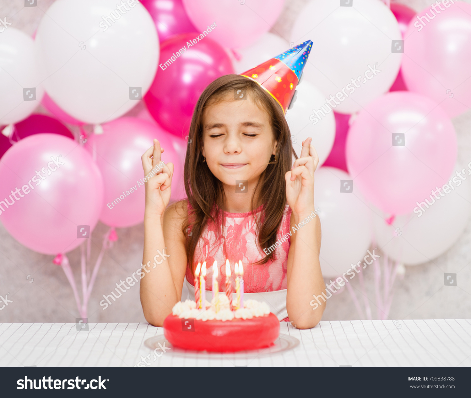 Girl Birthday Hat Cake Candles Makes Stock Photo Edit Now