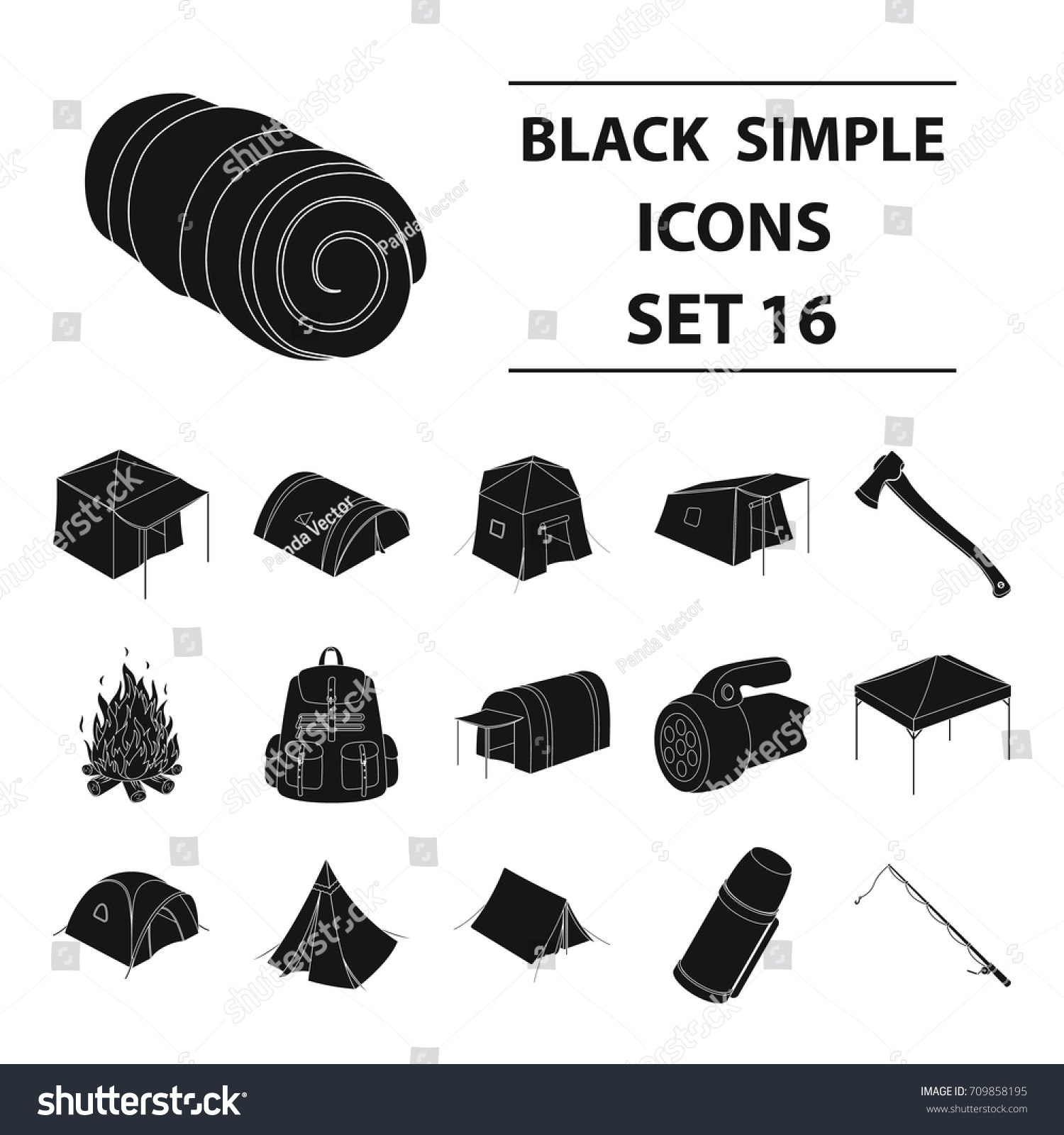 Various kinds of tents and other tourist accessories. The tent set collection icons in black  sc 1 st  Shutterstock & Various Kinds Tents Other Tourist Accessories Stock Vector ...