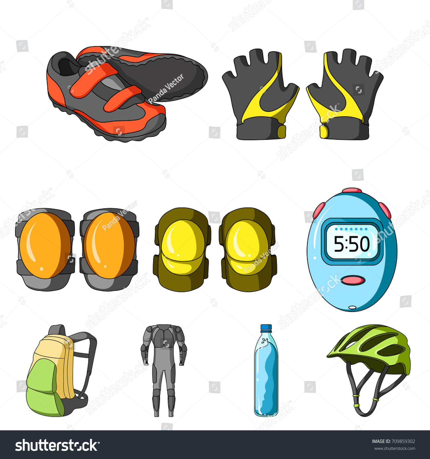 2bb8de9634ad Icons Cycling Bike Set Bike Backpack Stock Vector (Royalty Free ...