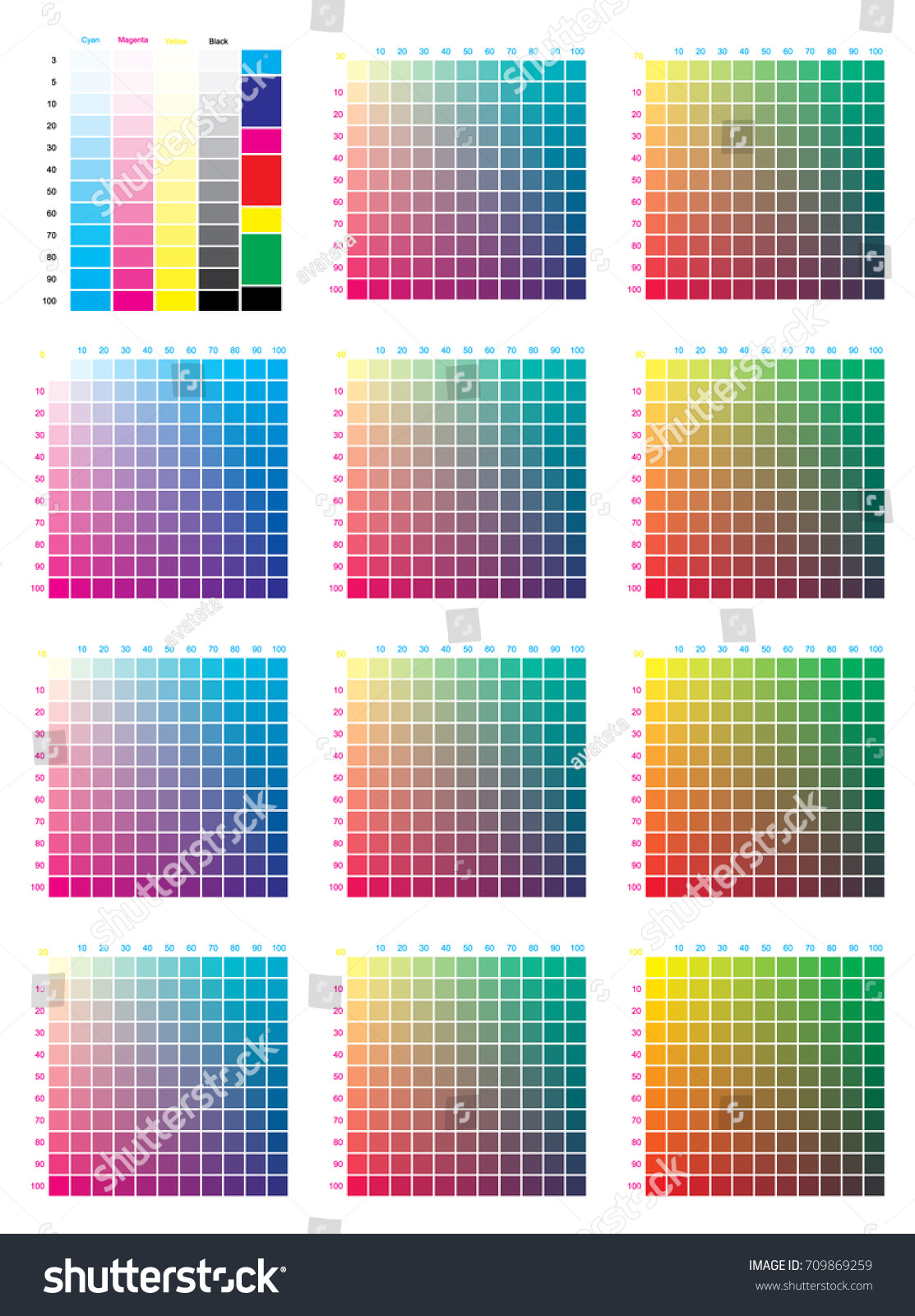Cmyk Press Color Chart Vector Color Stock Vector 709869259 ...