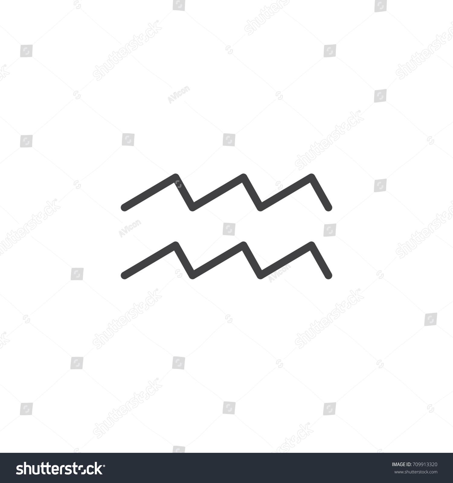 Aquarius Zodiac Sign Line Icon Outline Stock Vector 2018 709913320