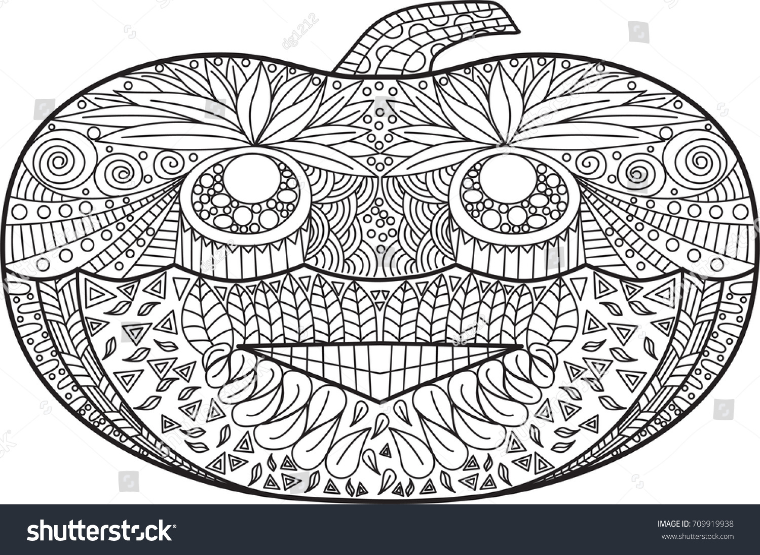 Abstract Hand Drawn Pumpkin For Coloring Book Halloween Vector Illustrator