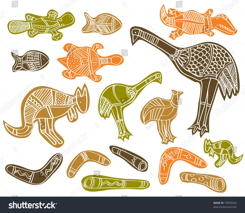 Line Drawings Of Australian Animals : Animals drawings aboriginal australian style stock vector