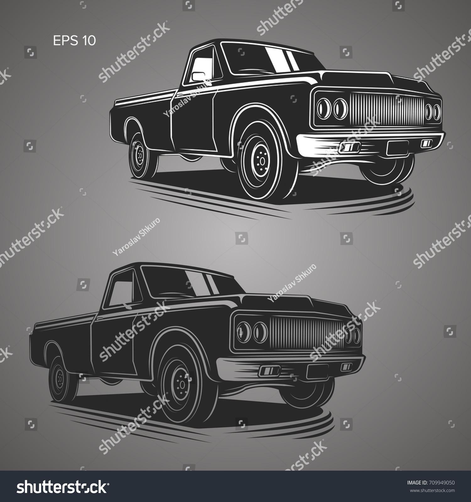 Vintage Pickup Truck Vector Illustration Oldschool Stock Vector ...