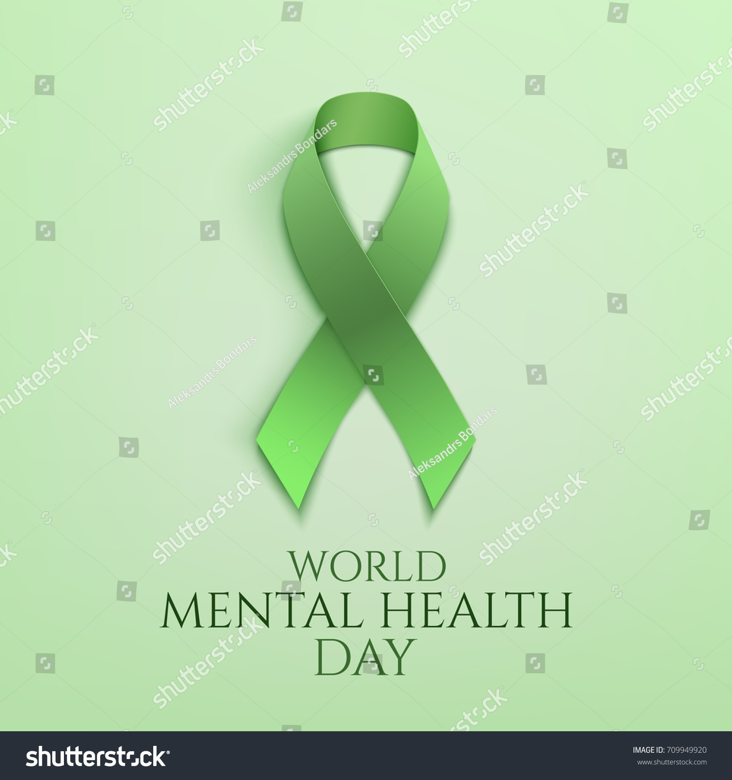 world mental health day background green ribbon poster or brochure template vector illustration