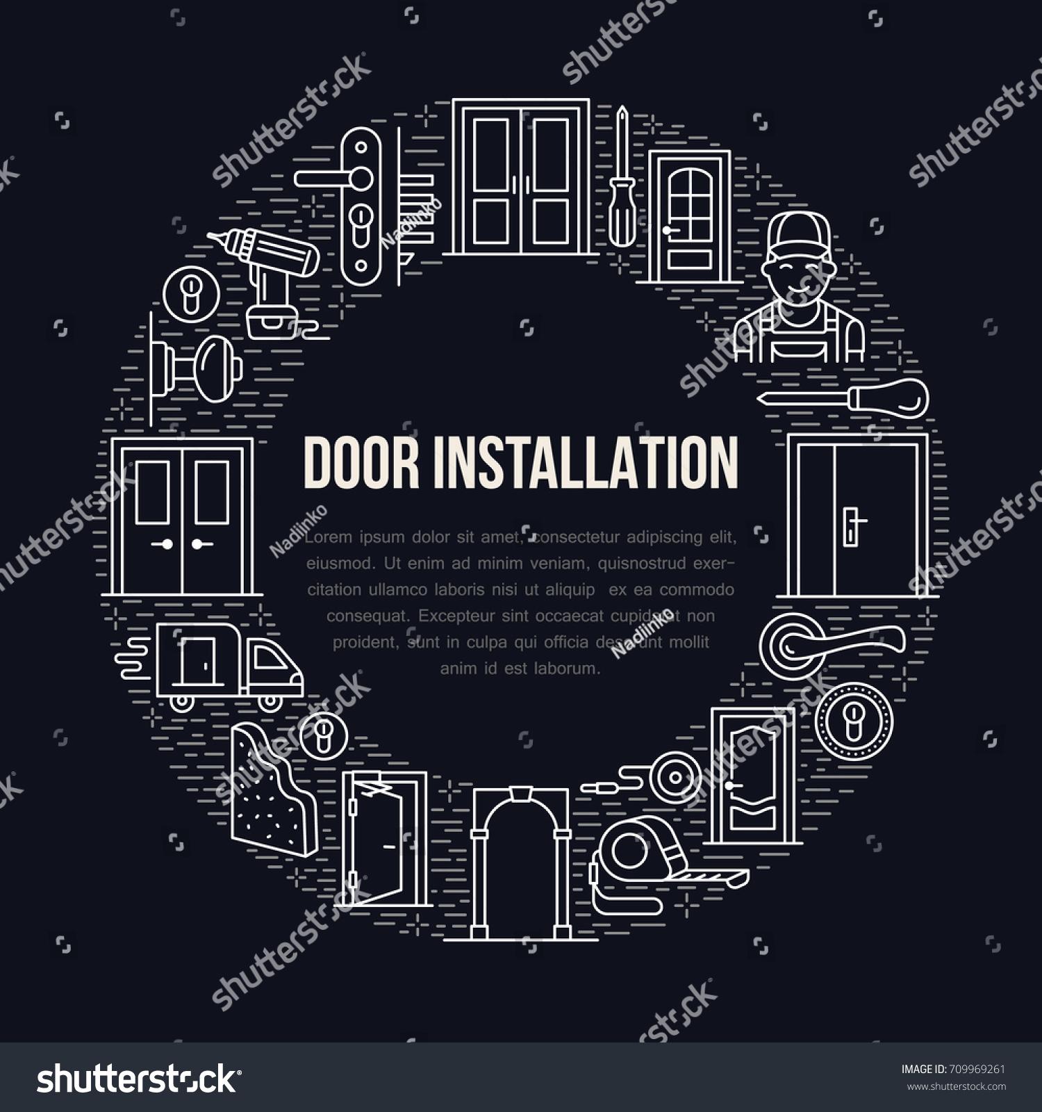 Doors Installation Signs Repair Banner Illustration Stock Vector ...