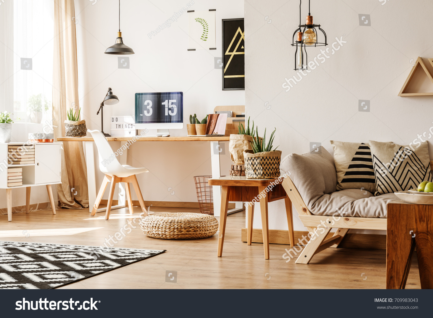 Modern loft interior full natural wooden stockfoto jetzt