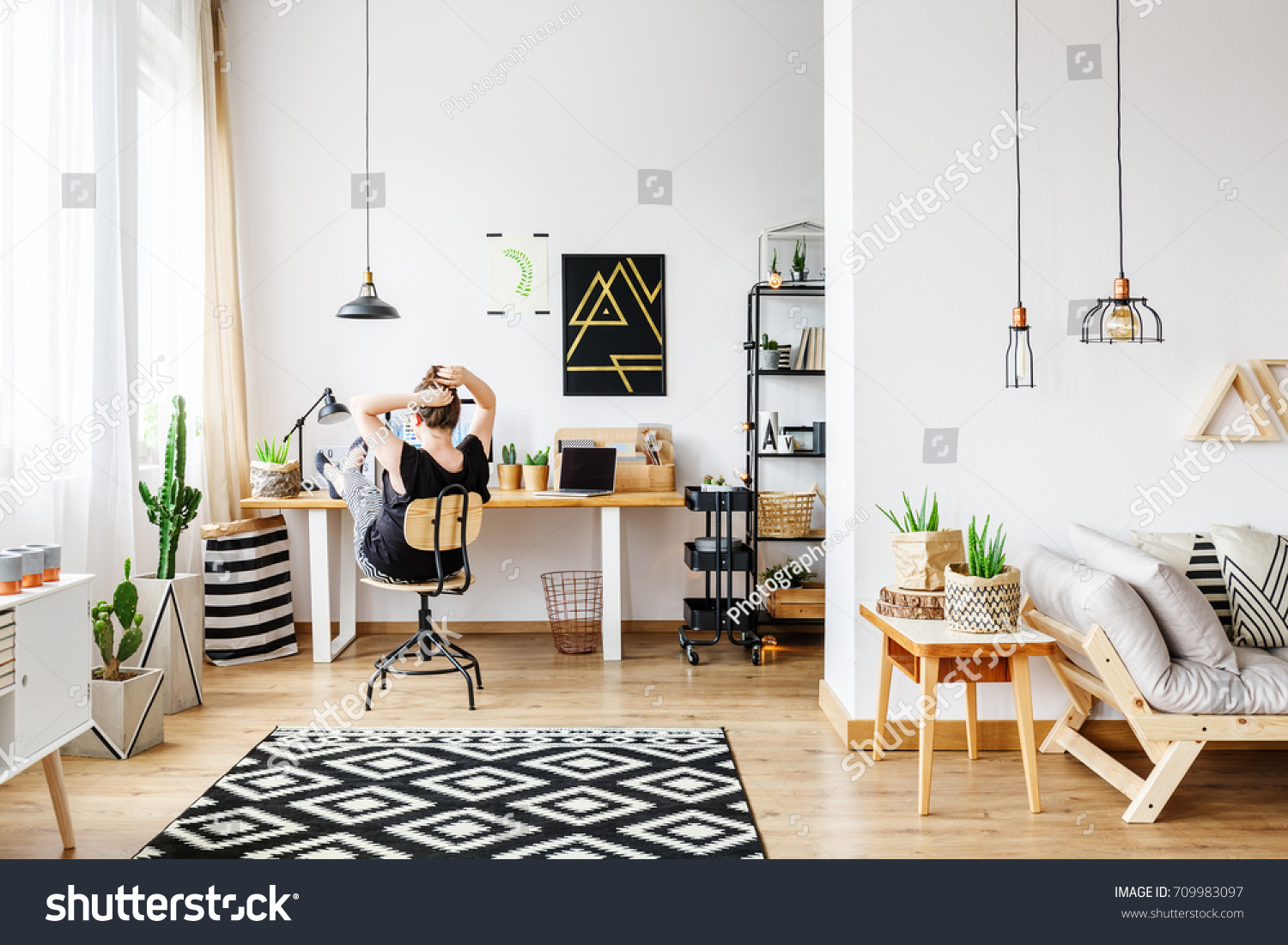 Young Freelance Woman Working Remotely Designer Stock Photo (Royalty ...
