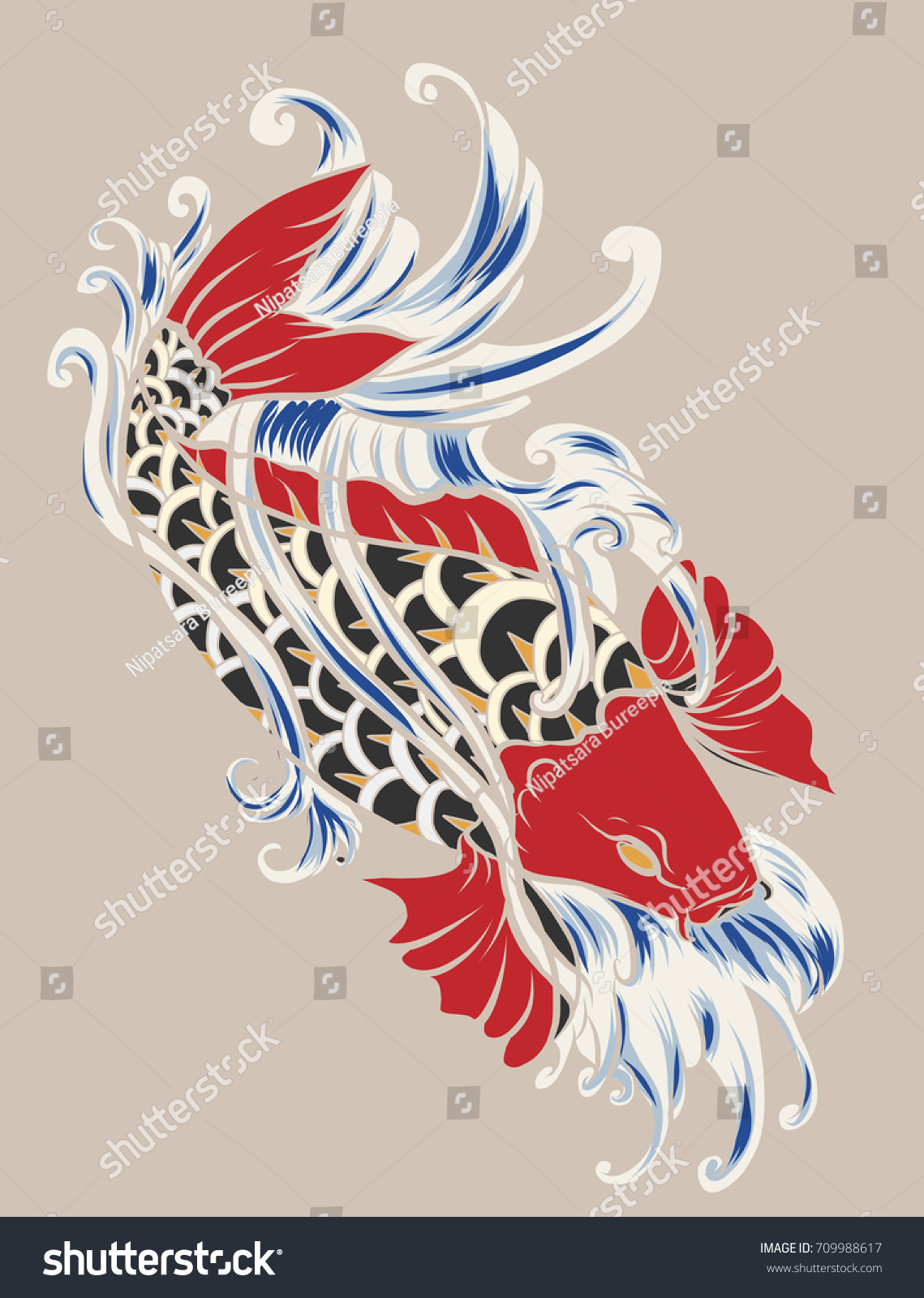 Hand Drawn Colorful Koi Fish Water Stock Vector 709988617 - Shutterstock