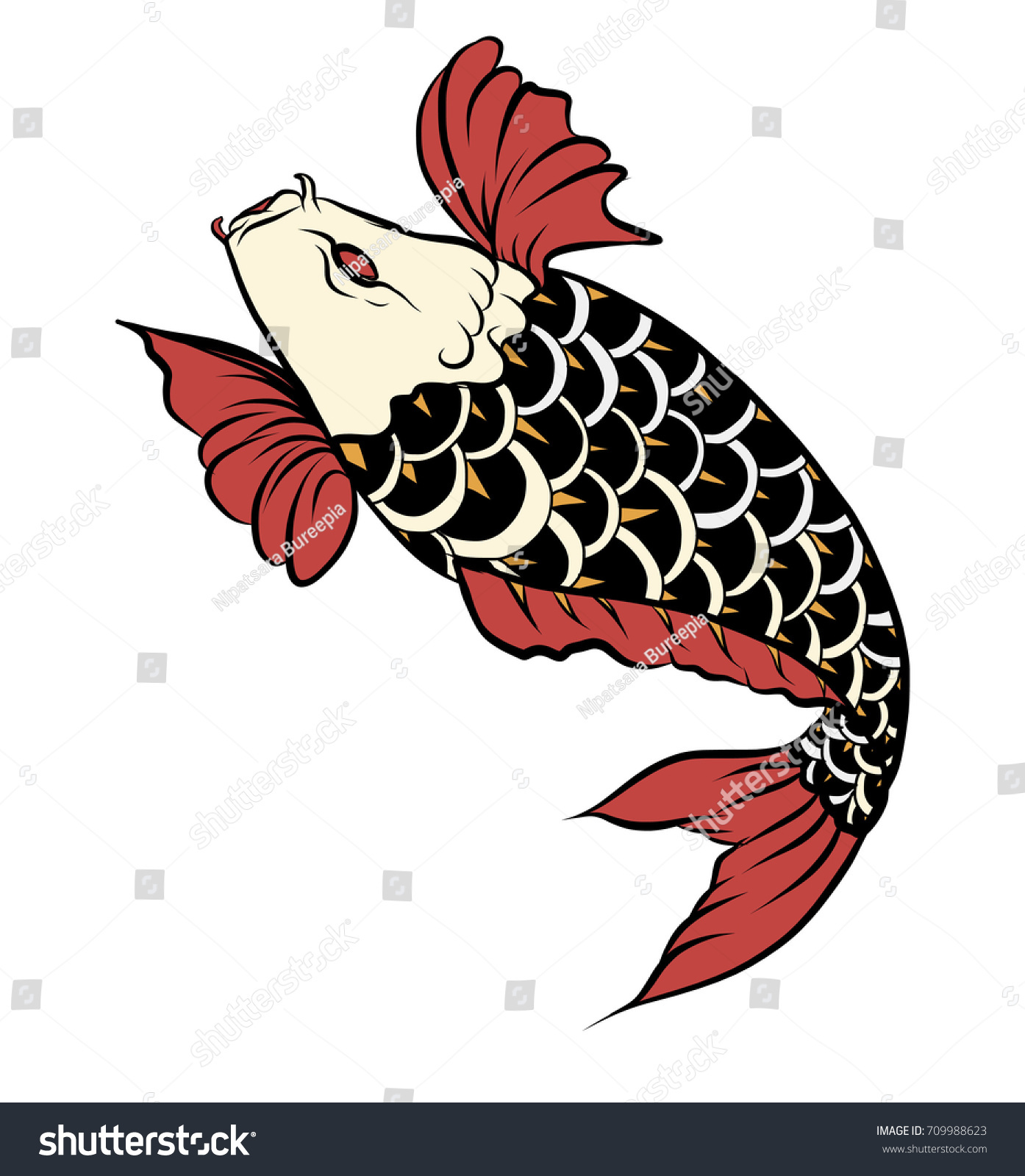 Hand Drawn Colorful Koi Fish Water Stock Vector 709988623 - Shutterstock