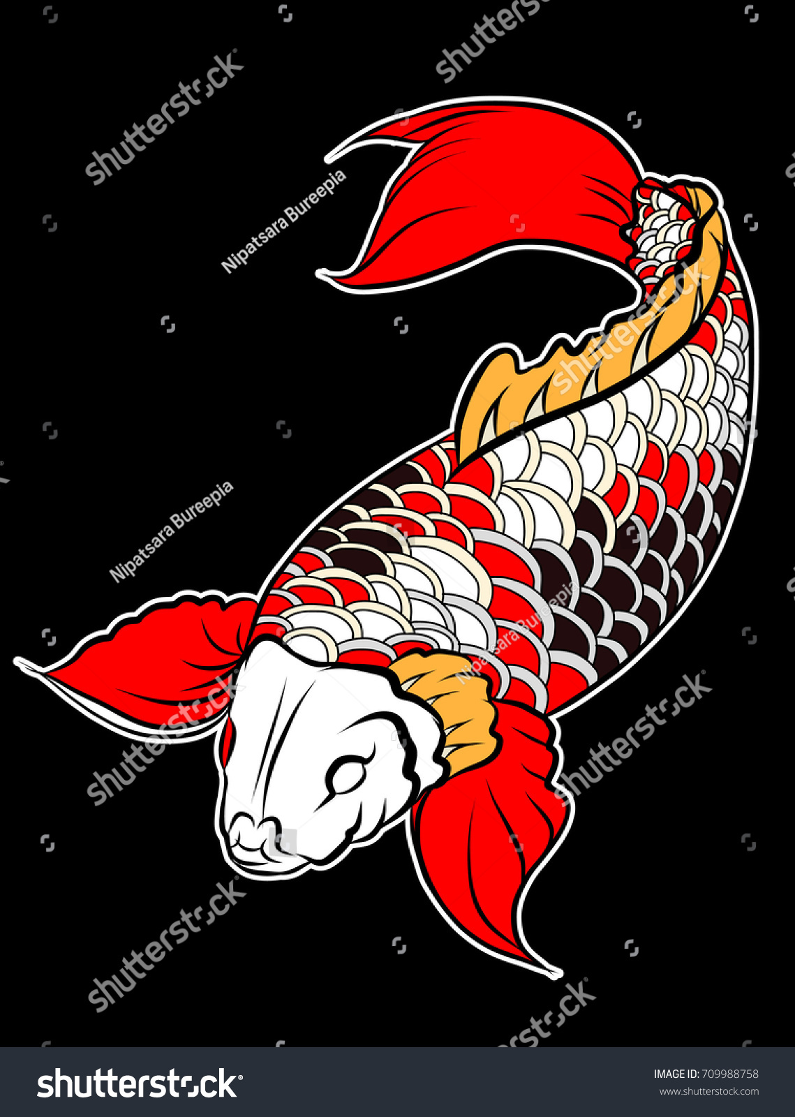 Sticker Colorful Koi Fish Water Splash Stock Vector 709988758 ...