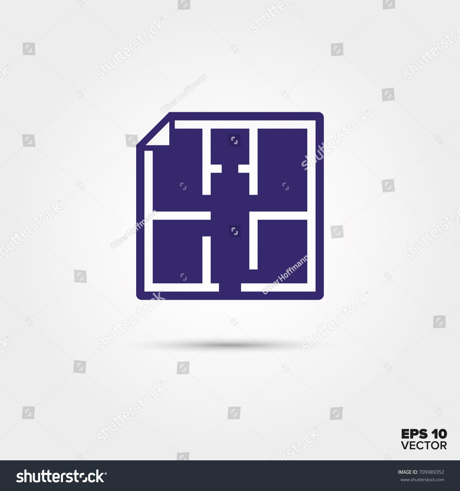Blueprint building floor plan vector icon stock vector 709989352 blueprint of building floor plan vector icon malvernweather Images