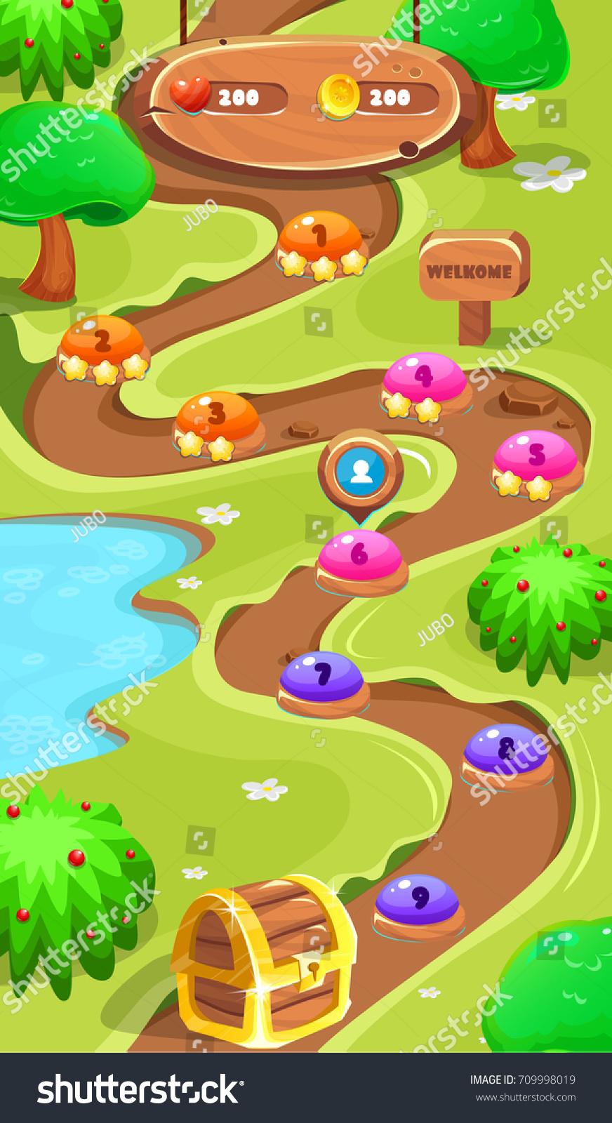 Level map assets forest world mobile game vector de stock709998019 level map assetsrest world mobile game user interface gui map screen forest map gumiabroncs Image collections