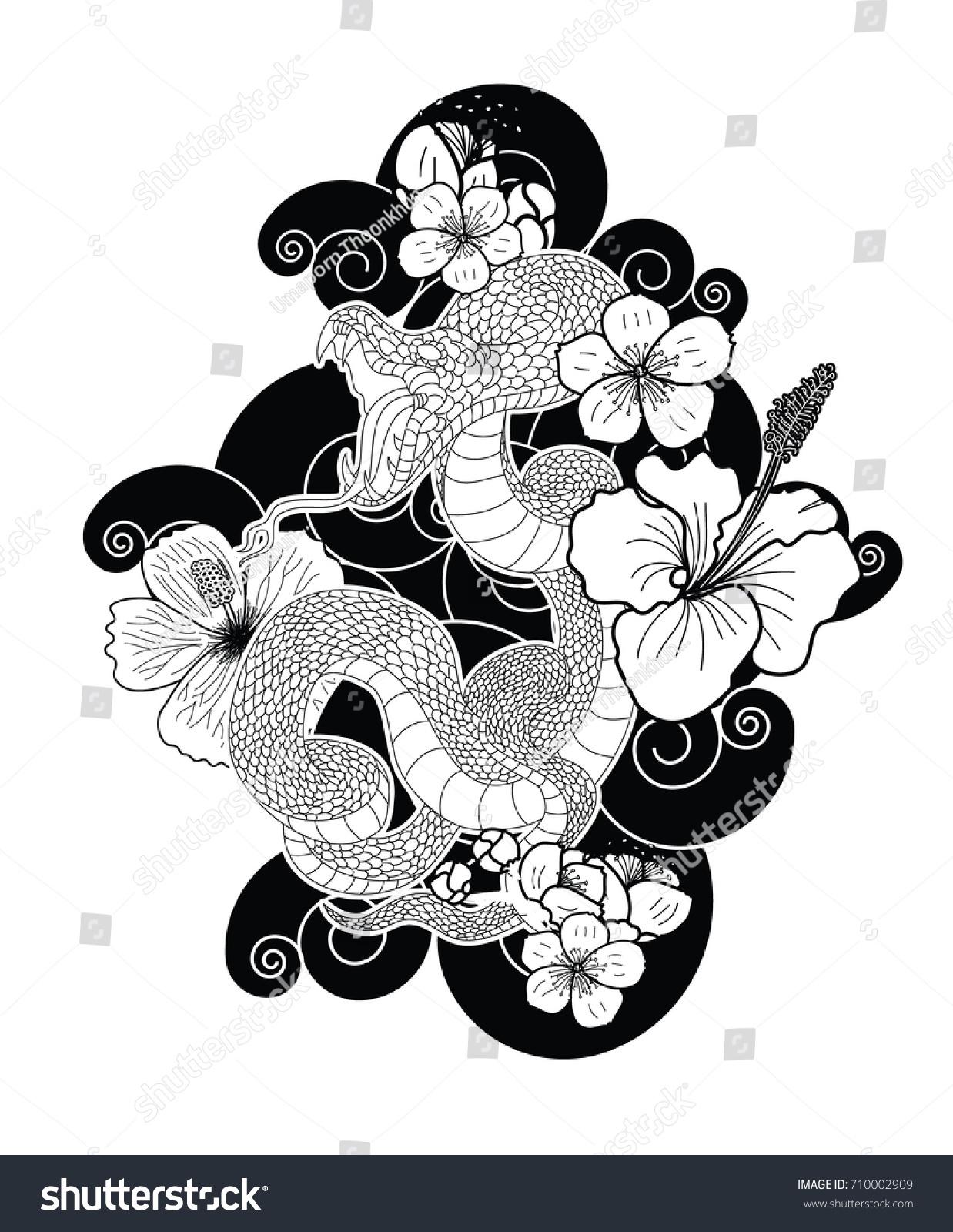 Japanese snake cherry blossom hibiscus flower stock vector royalty japanese snake with cherry blossom and hibiscus flower tattoo izmirmasajfo