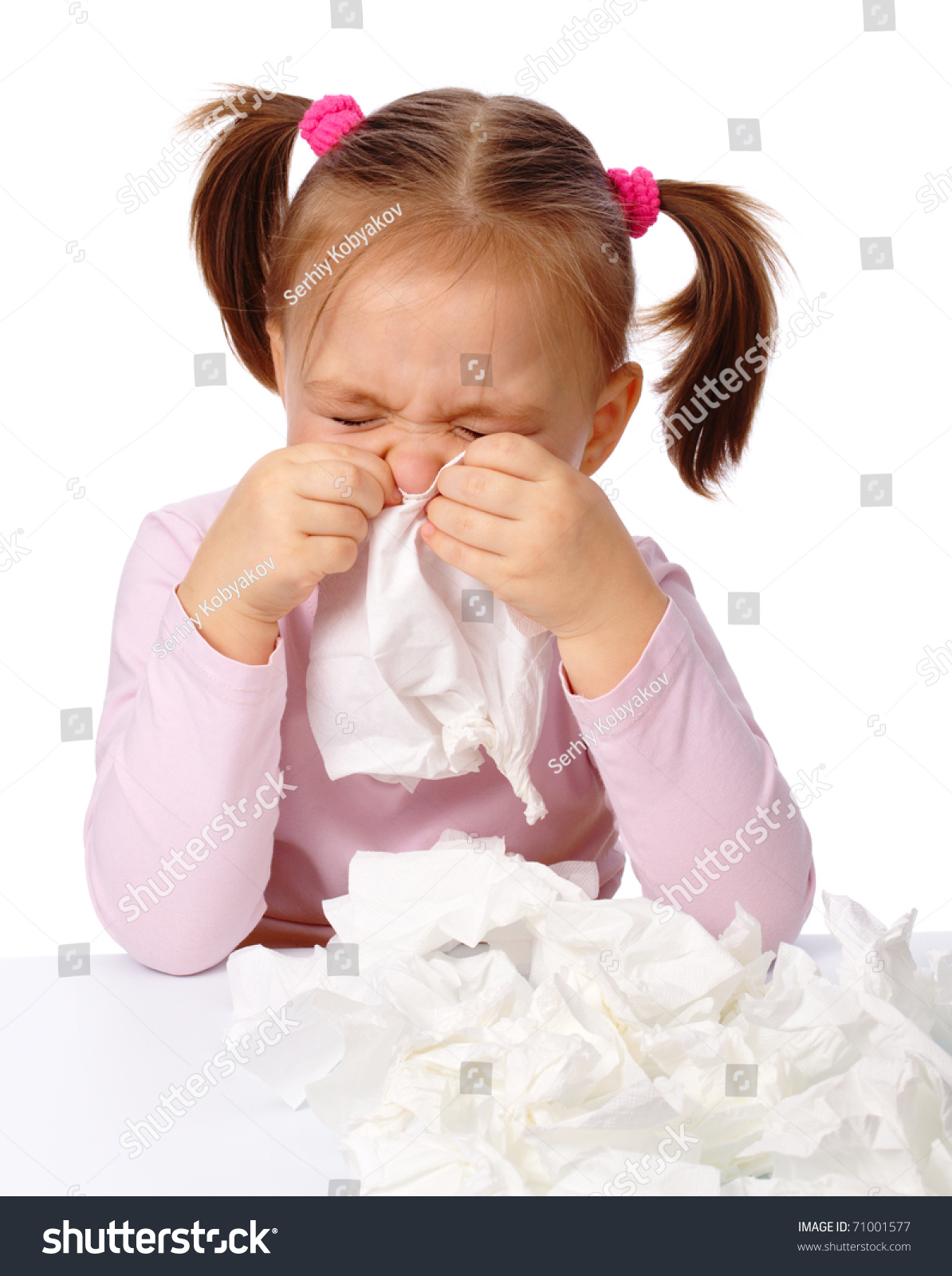 Little Girl Blows Her Nose Paper Stock Photo 71001577 ...