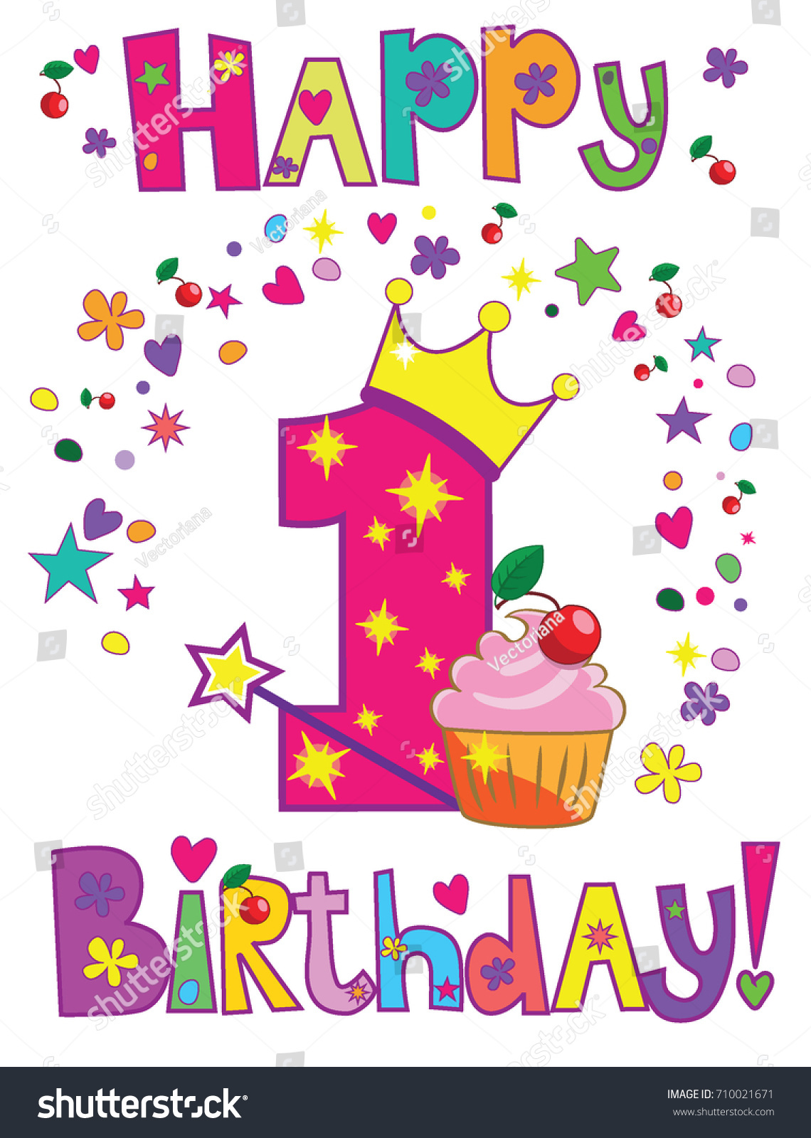 Happy First Birthday Card Stock Vector Royalty Free 30
