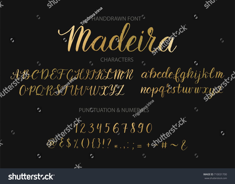 Handwritten Script Font Hand Drawn Brush Stock Vector 710031700