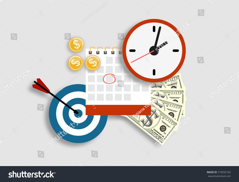 Calendar Planner Target : Clock calendar target money business strategy stock vector 2018