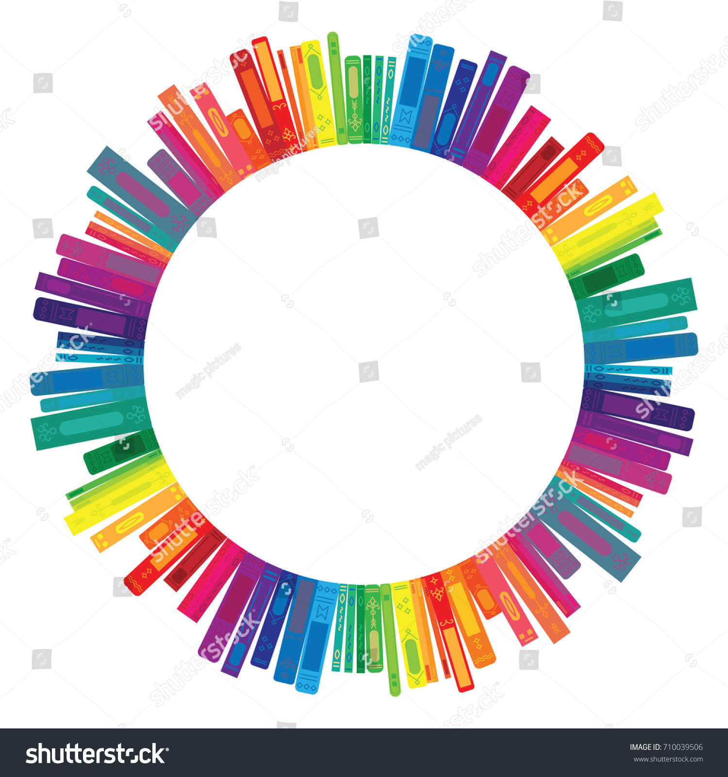 Vector Illustration Books Rainbow Colors Round Stock Vector (Royalty ...