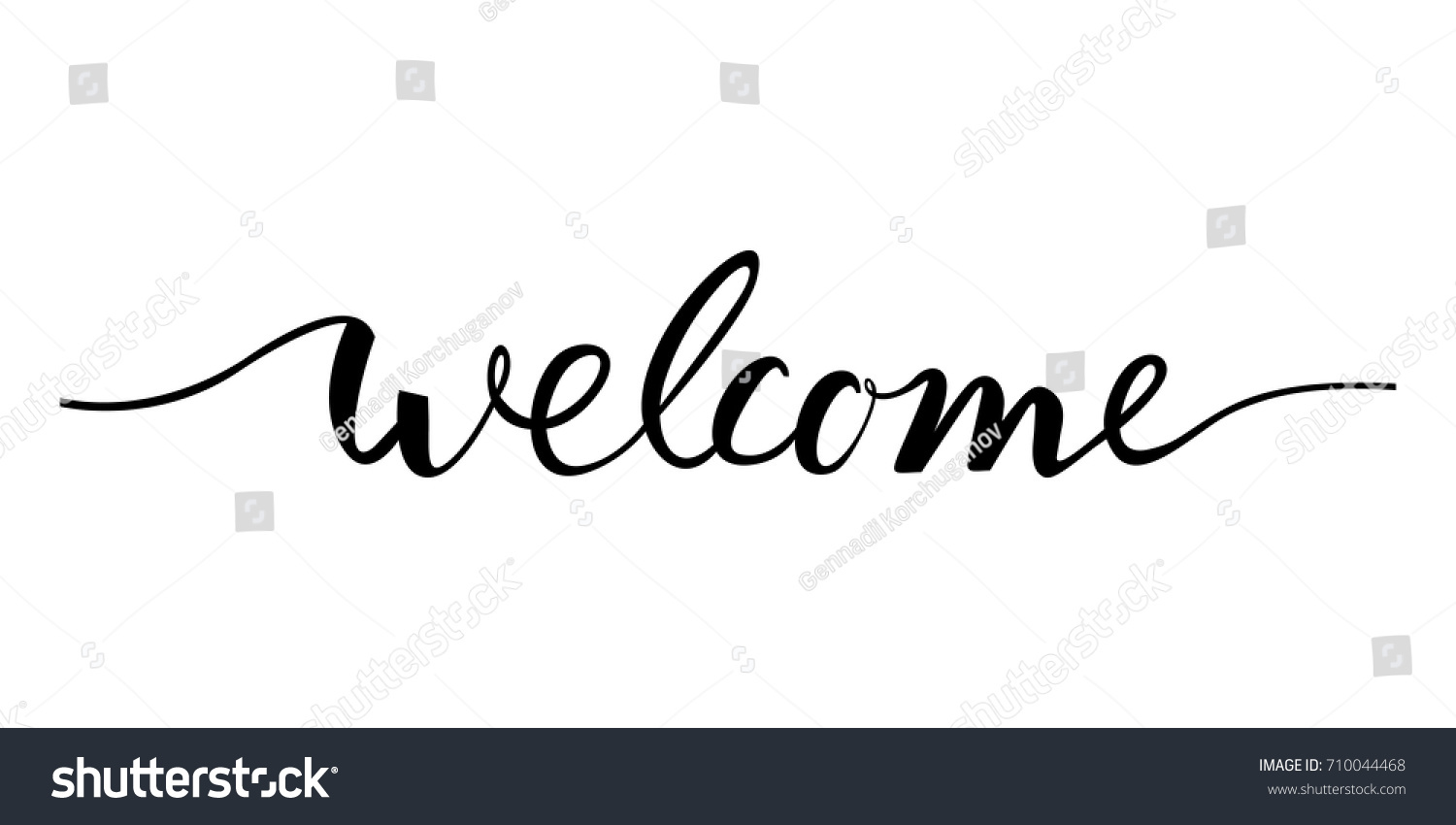 Welcome Lettering Text Modern Calligraphy Style Stock
