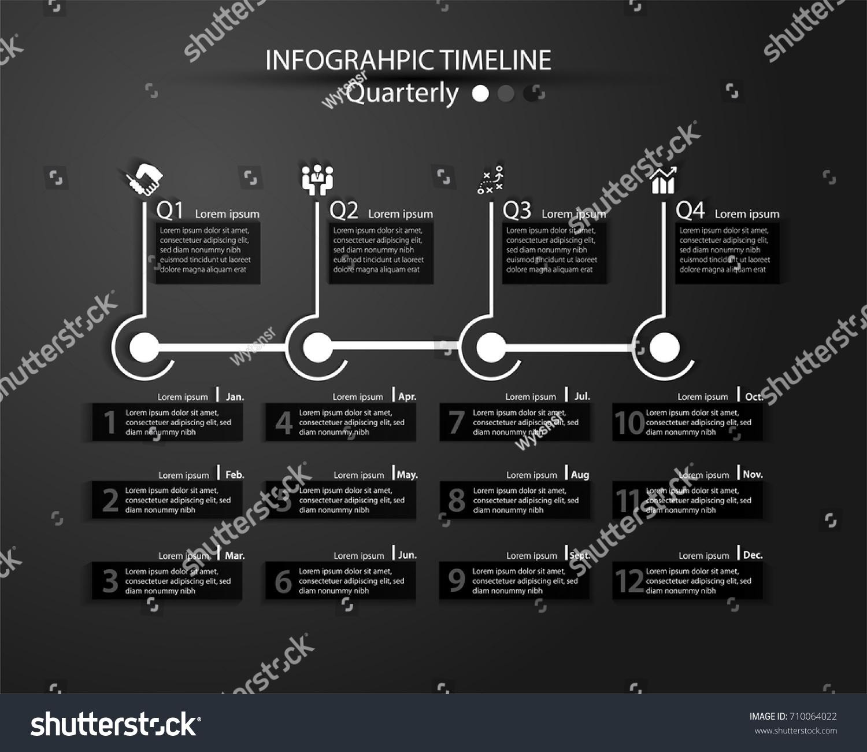 Infographic Timeline Multiple Purpose Use Dark Stock Vector ...