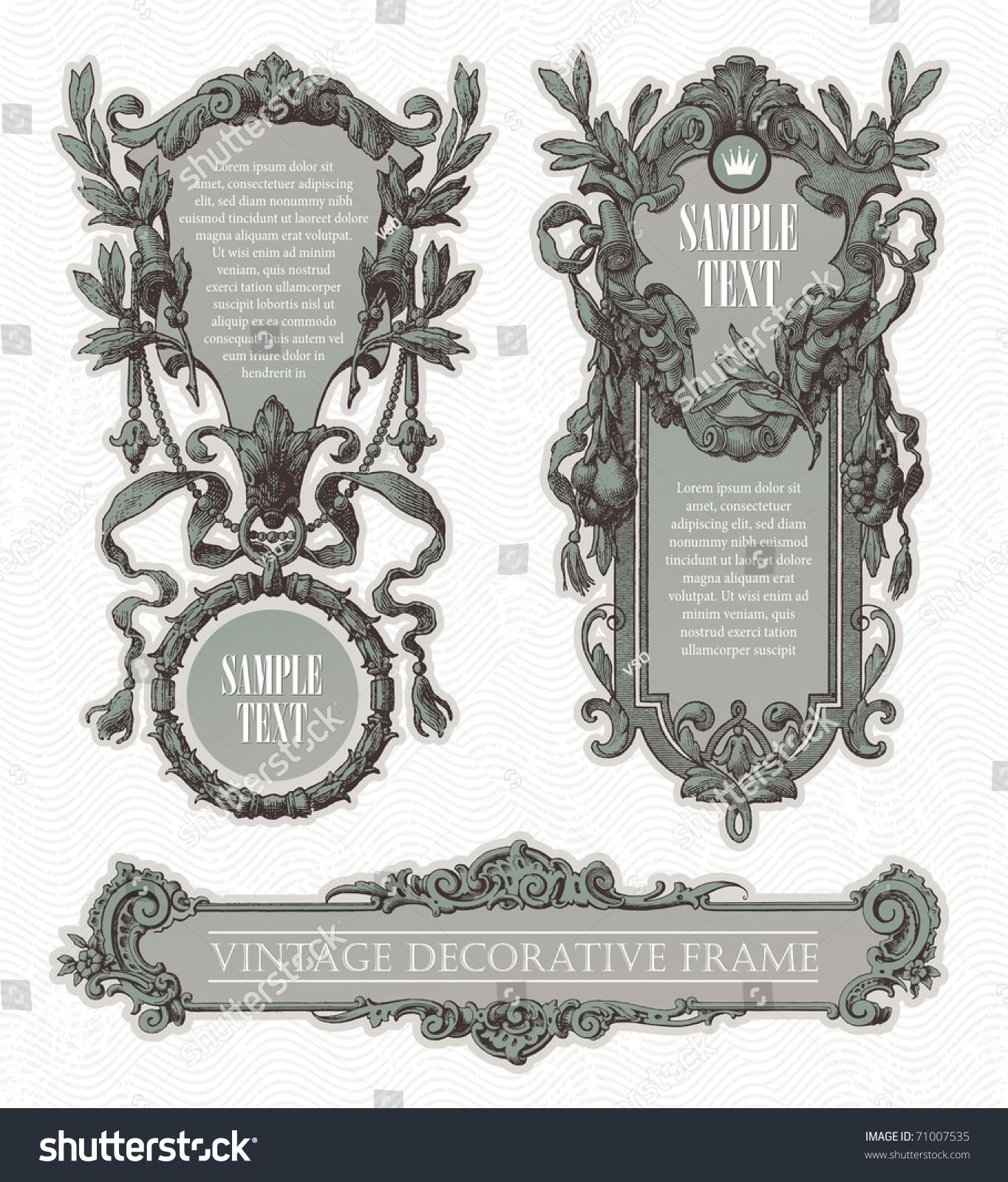 Vintage Engraved Decorative Ornate Vector Frames Stock Vector ...