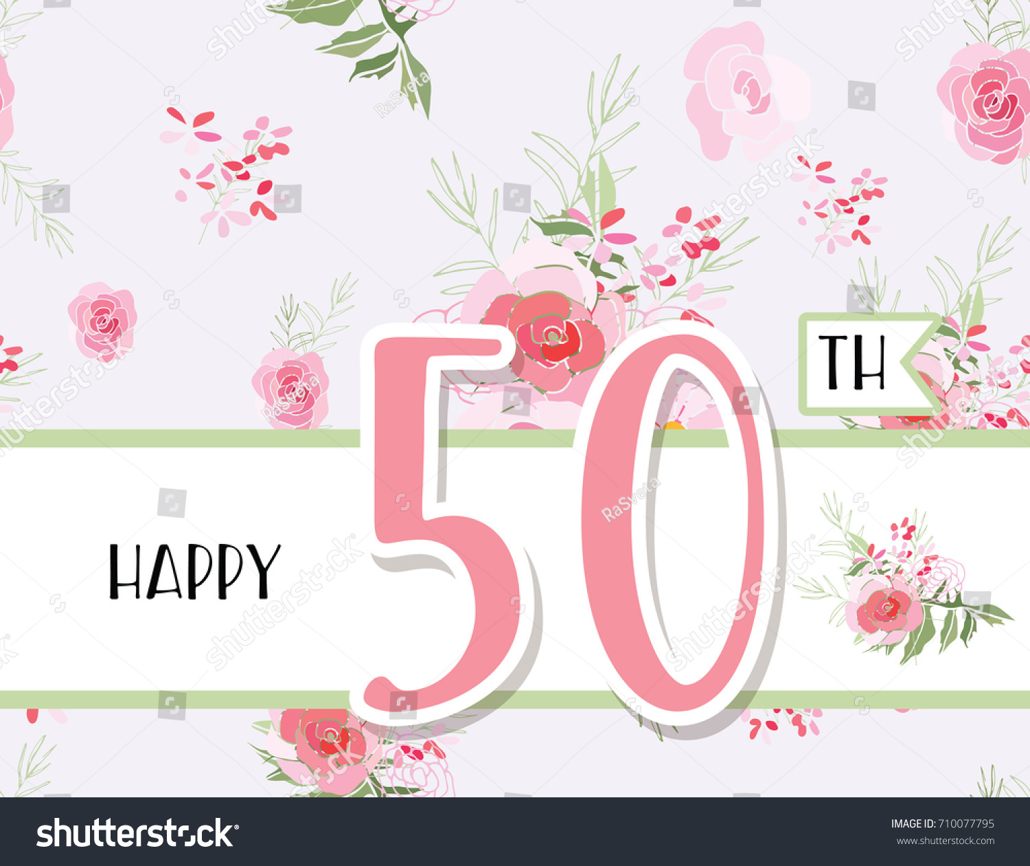 Greeting Card Anniversary Birthday Flower Composition Stock Vector