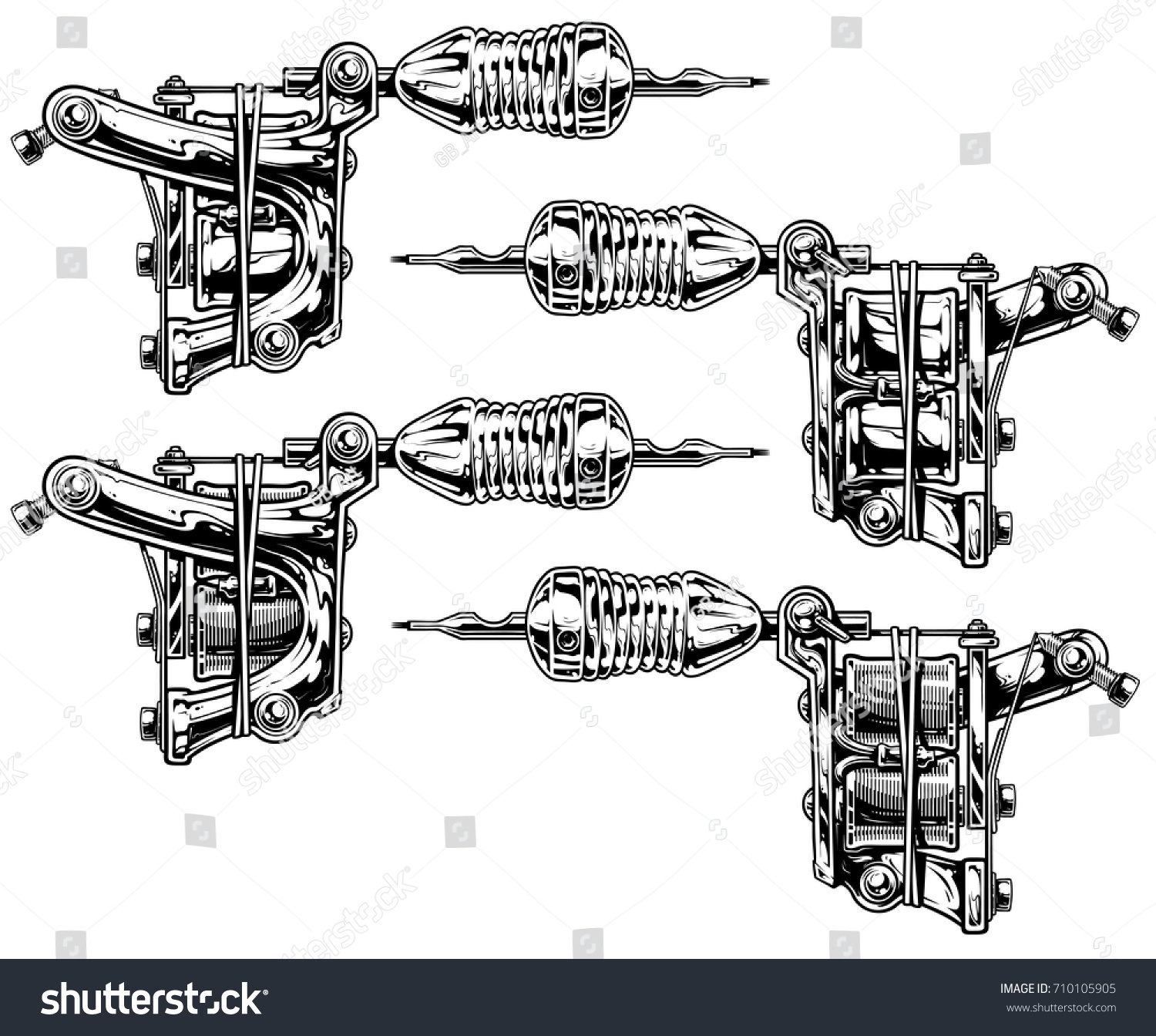 Graphic Detailed Black White Tattoo Machine Stock Vector Royalty Circuit Diagram And Set Vol 8