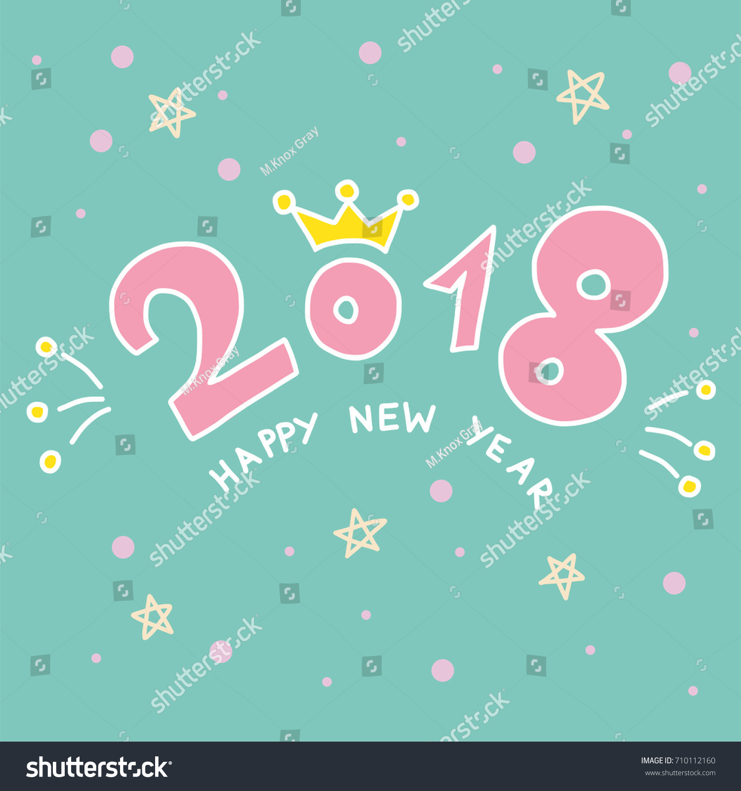happy new year 2018 word and crown cute cartoon vector illustration doodle style