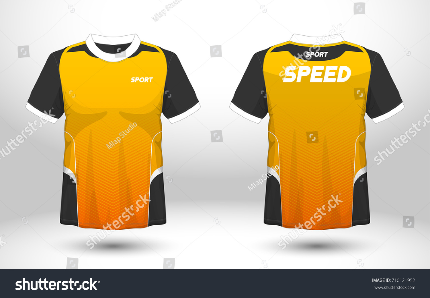 Black Yellow Layout Football Sport Tshirt Stock Vector Royalty Free