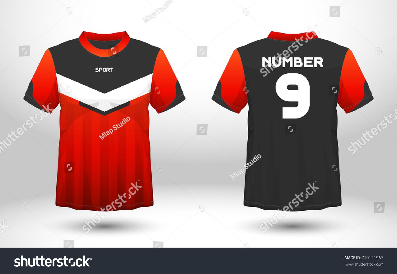 Sport T Shirt Design Templates | Red Black Layout Football Sport Tshirt Stock Vector 710121967
