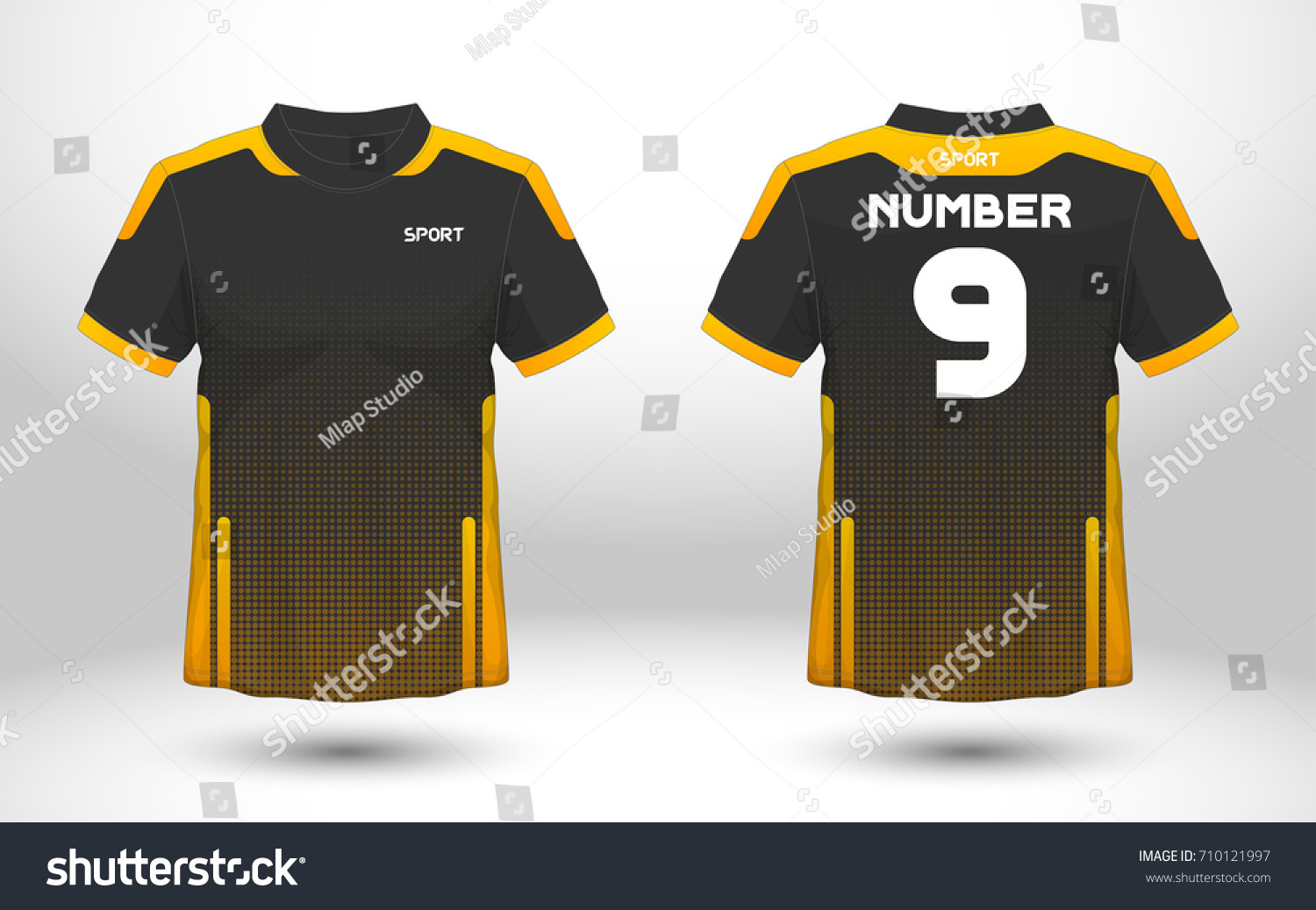 f22e42a22 Black and yellow layout football sport t-shirt design. Template front, back  view. Soccer kit national team shirt mock up. Vector Illustration. - Vector