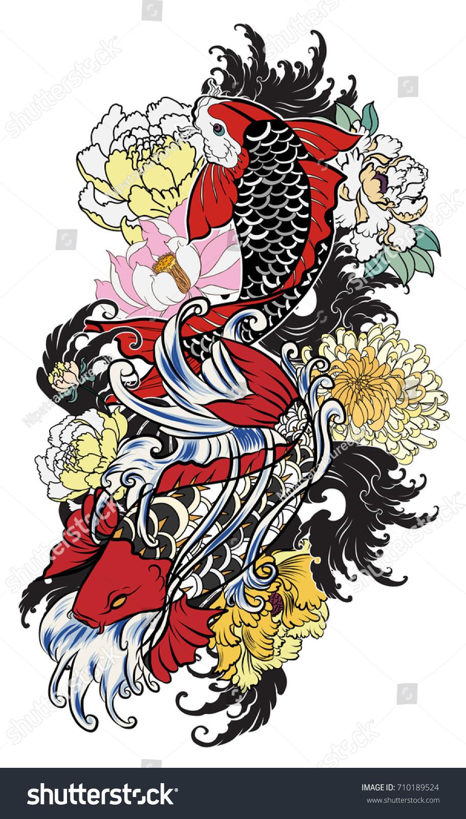Hand Drawn Koi Fish Flower Tattoo Stock Vector 710189524 - Shutterstock
