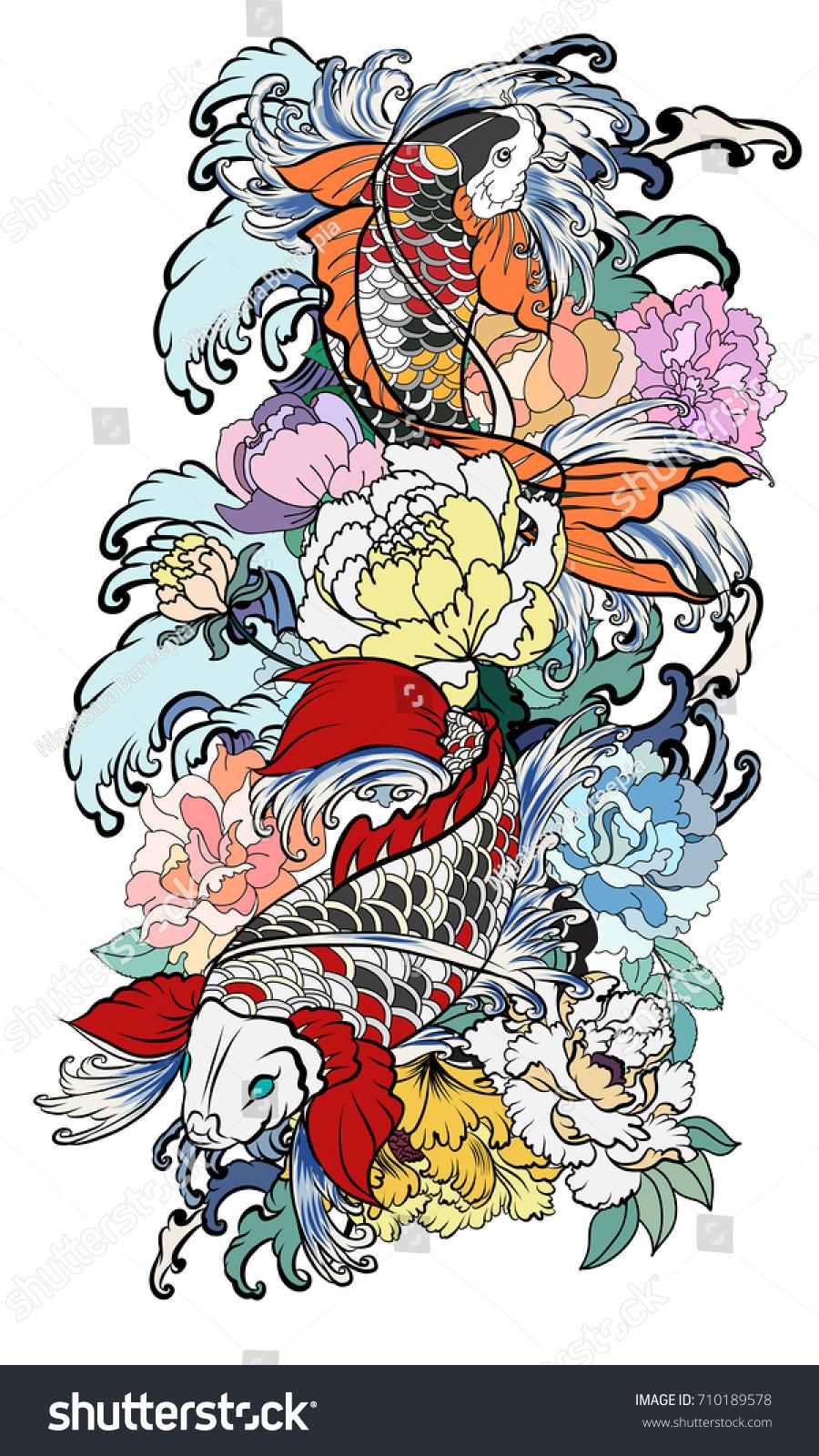 Hand Drawn Koi Fish With Flower Tattoo For Armlorful Koi Carp