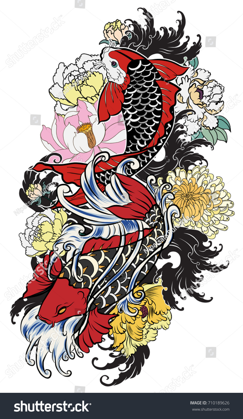 Hand Drawn Koi Fish Flower Tattoo Stock Vector 710189626 - Shutterstock