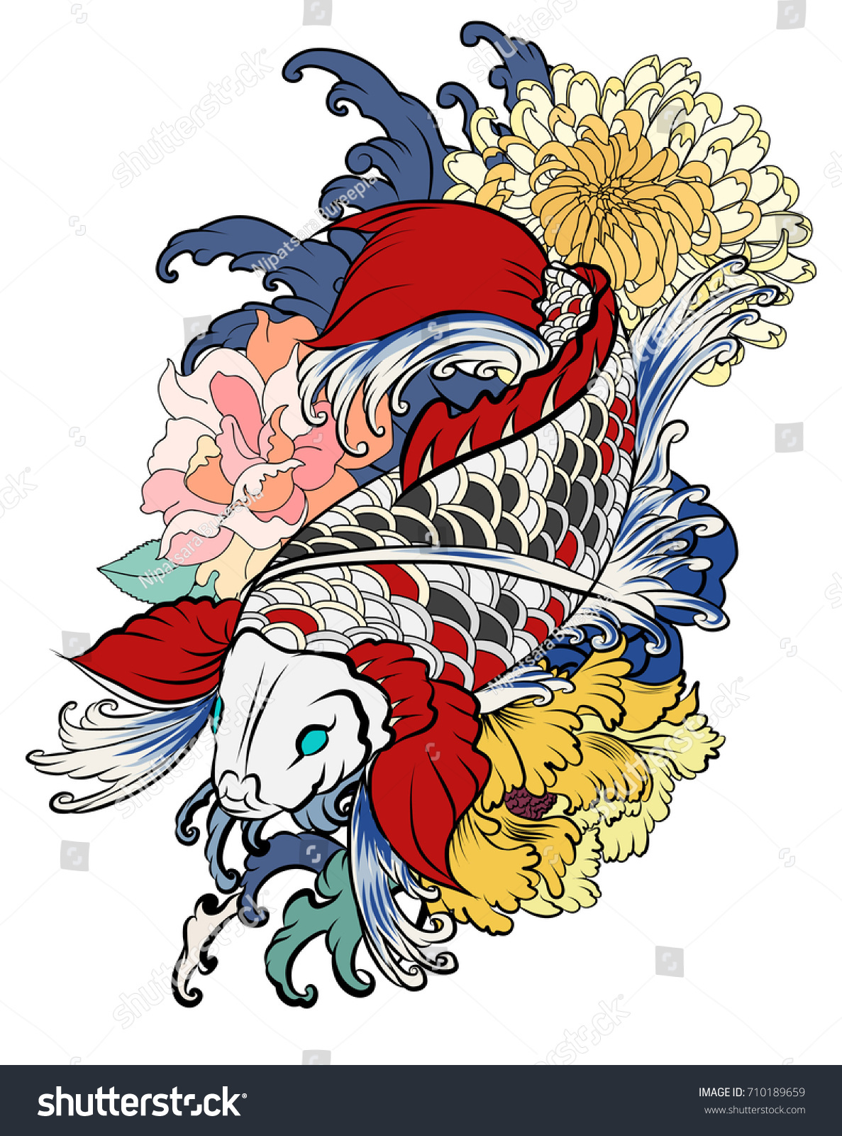 Hand Drawn Koi Fish Flower Tattoo Stock Vector 710189659 - Shutterstock