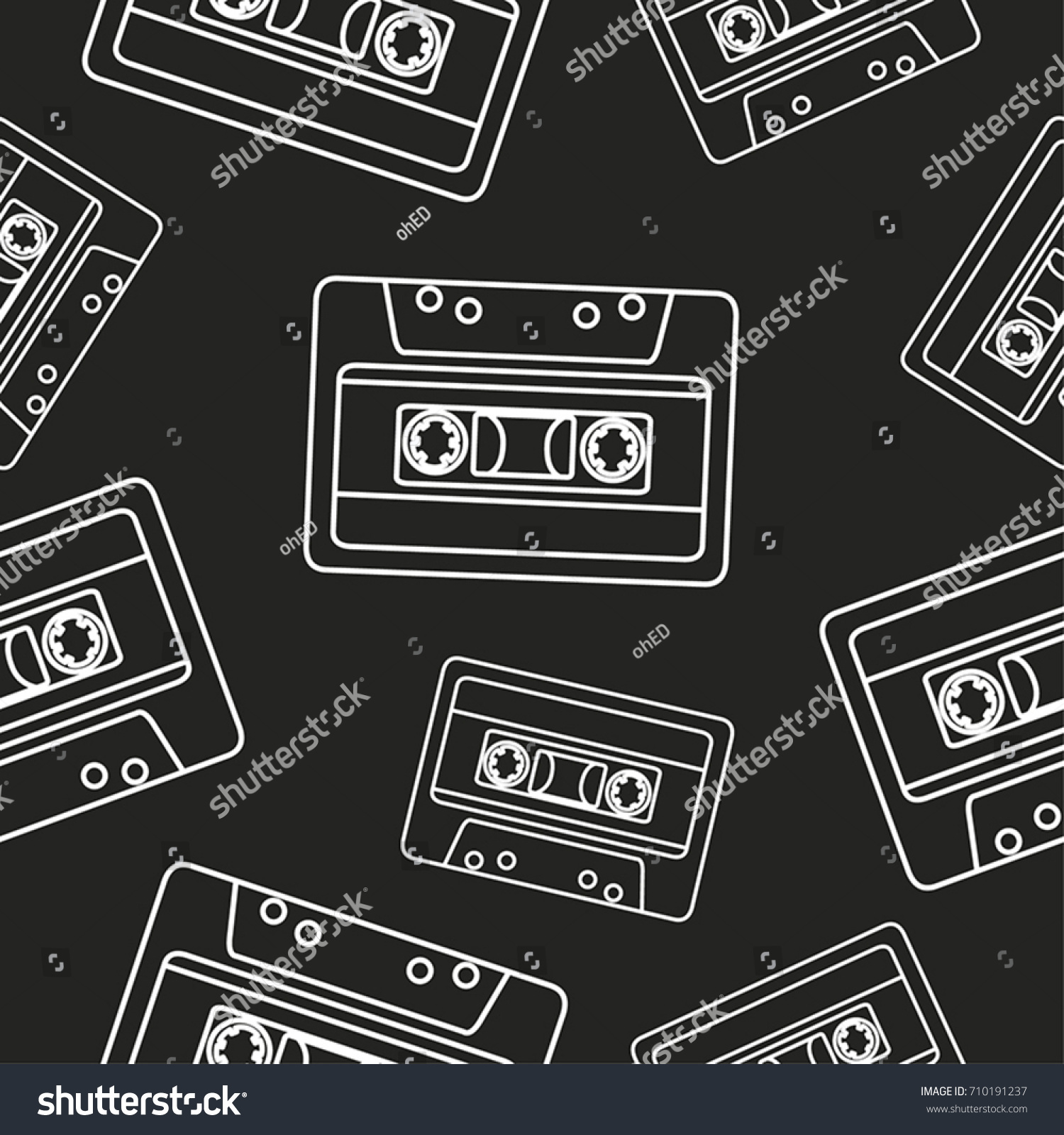 Mix Tape Outline Pattern Black Stock Vector Royalty Free