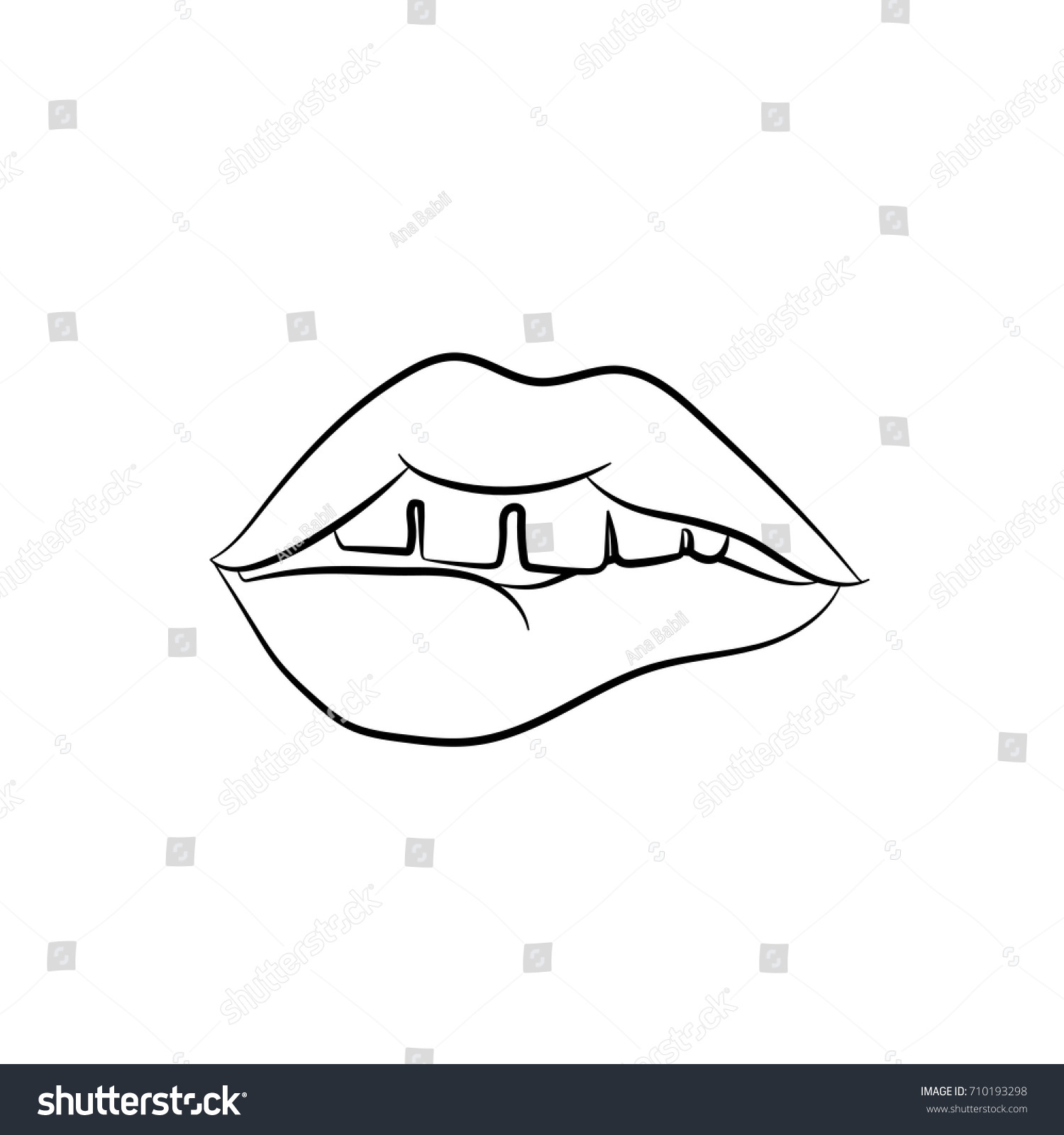 stock vector girls open mouth with lips biting female teeth pop art vector illustration black and white sketch 710193298 girls open mouth lips biting female stock vector (royalty free
