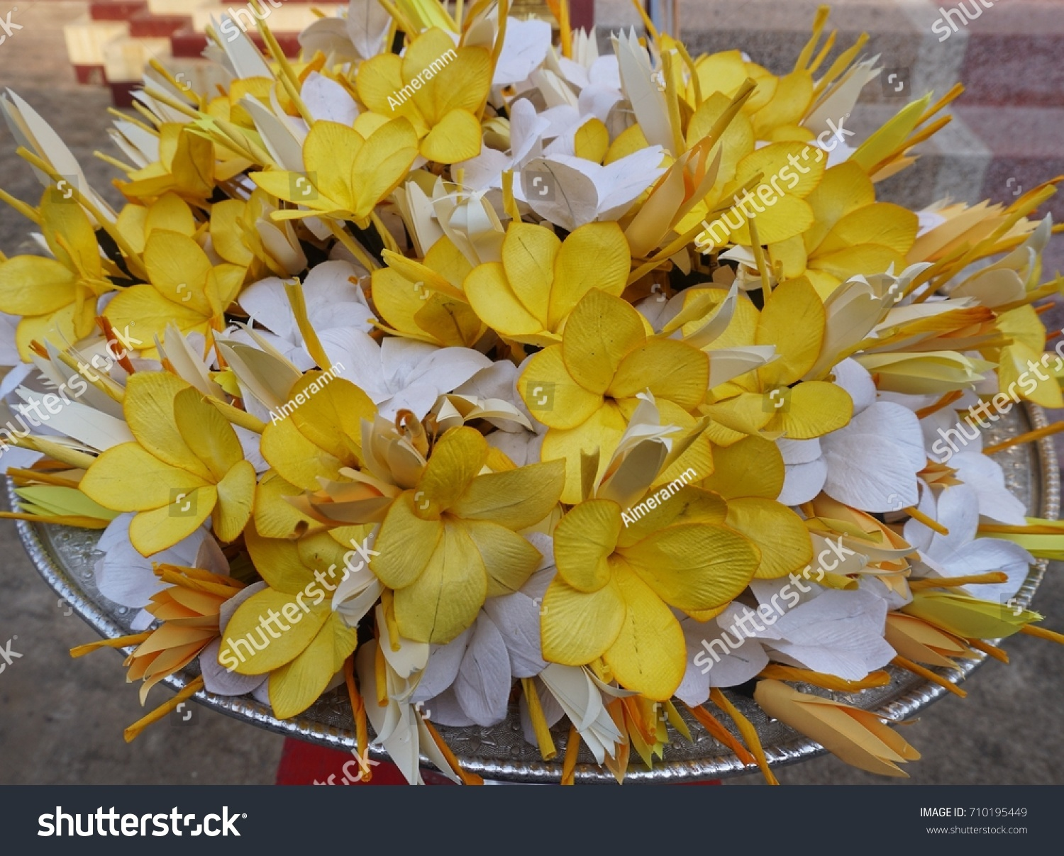 Flower Made Paper Used Funeral Stock Photo Royalty Free 710195449