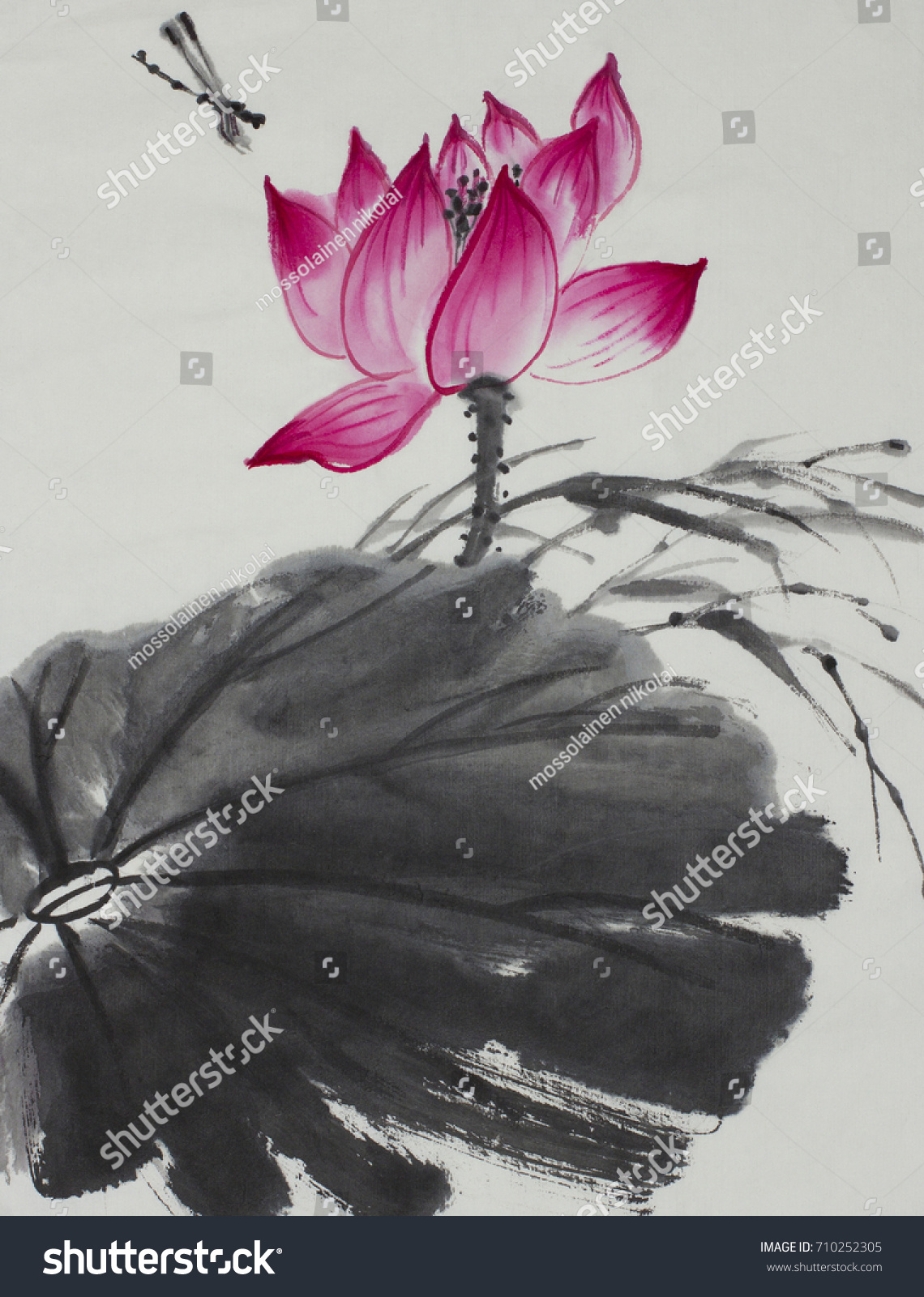 Bright lotus flower painted chinese style stock illustration bright lotus flower painted in chinese style izmirmasajfo