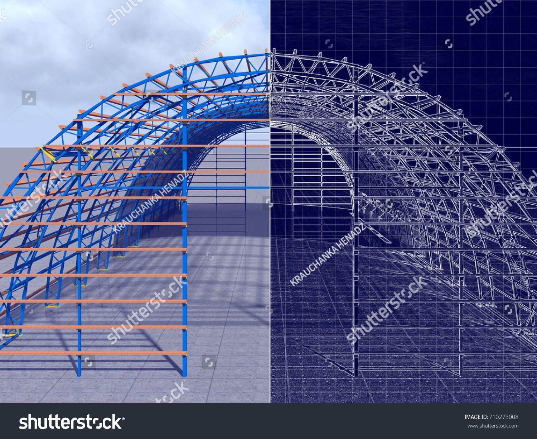 3 d rendering blueprint construction hangar arch stock illustration 3d rendering and blueprint the construction of a hangar of arch type crane malvernweather Gallery
