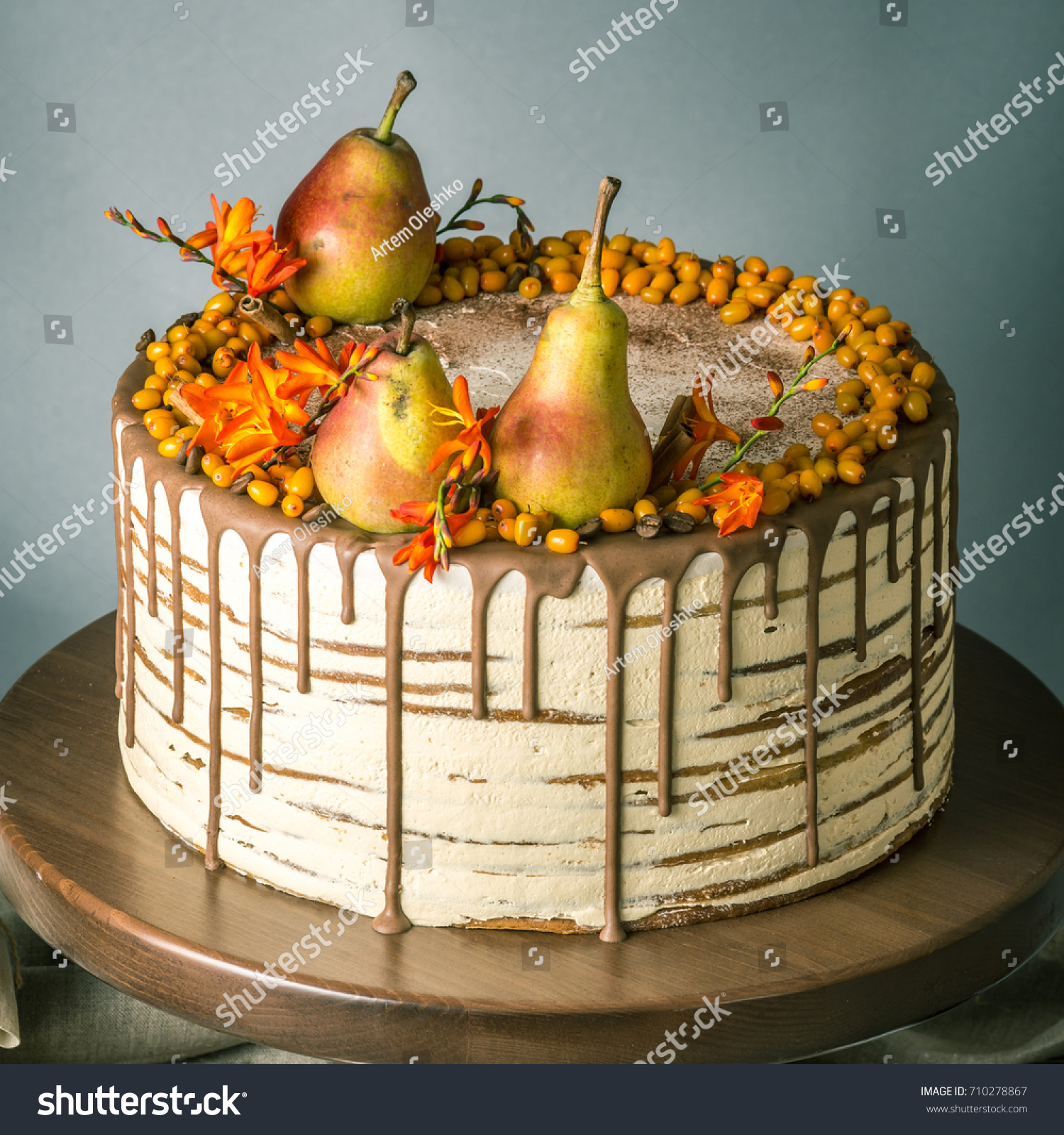 Beautiful Large Honey Cake Pour Over Stock Photo Image Royalty