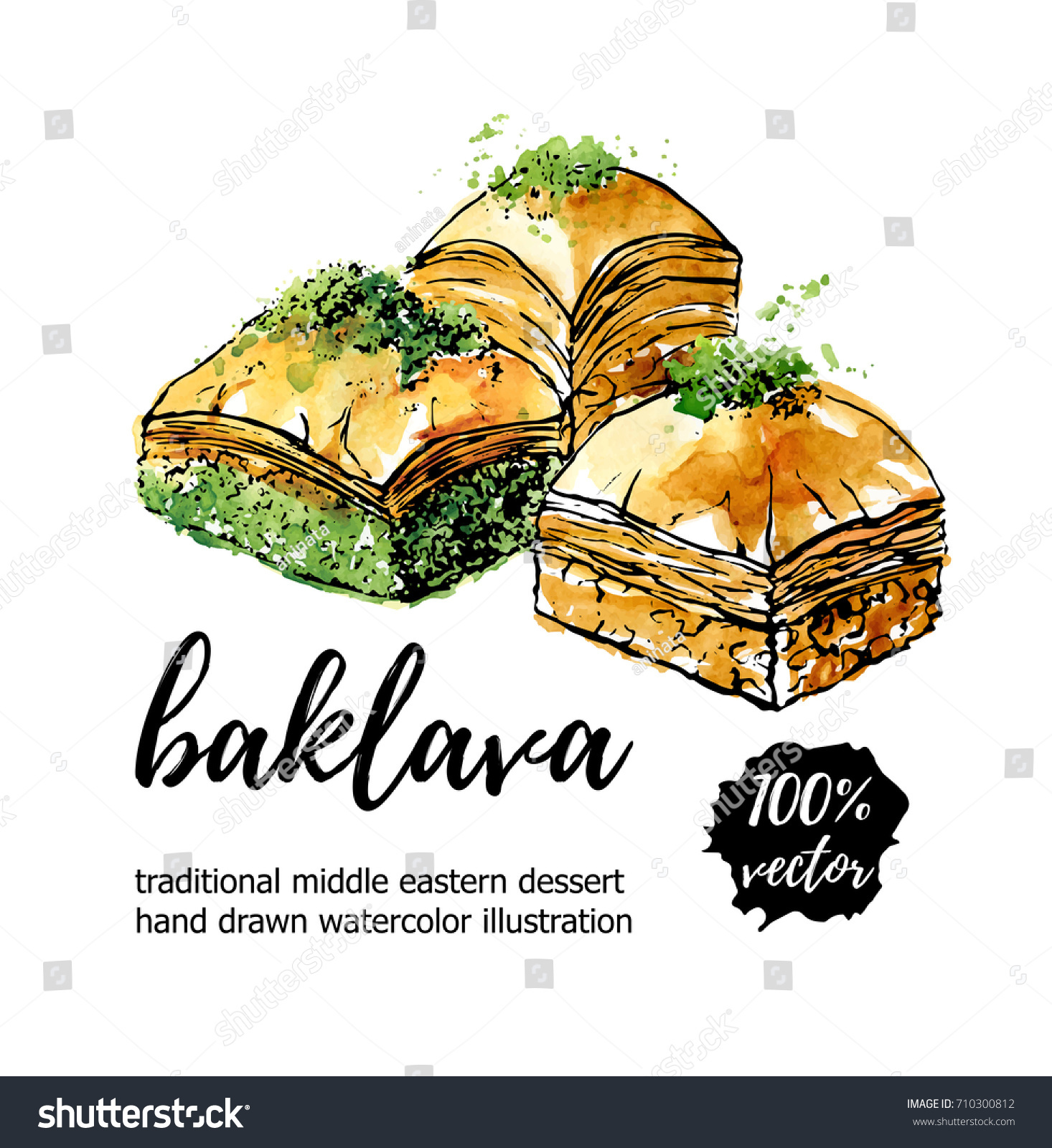 Vector illustration baklava hand drawn traditional stock vector vector illustration baklava hand drawn traditional middle eastern dessert black ink outline and bright biocorpaavc