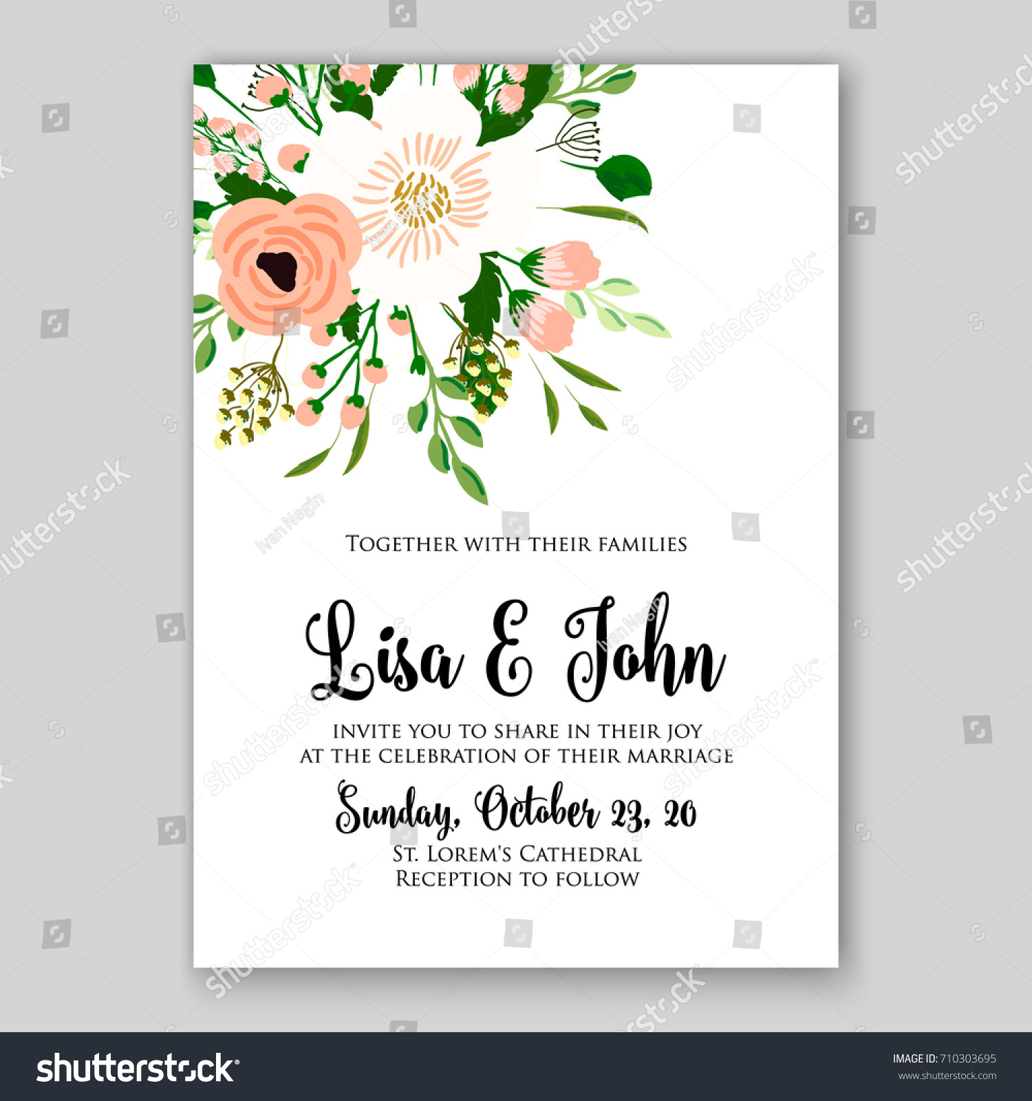 Romantic spring floral rustic flowers background stock vector romantic spring floral of rustic flowers background for wedding invitation vector template card cream rose stopboris Image collections
